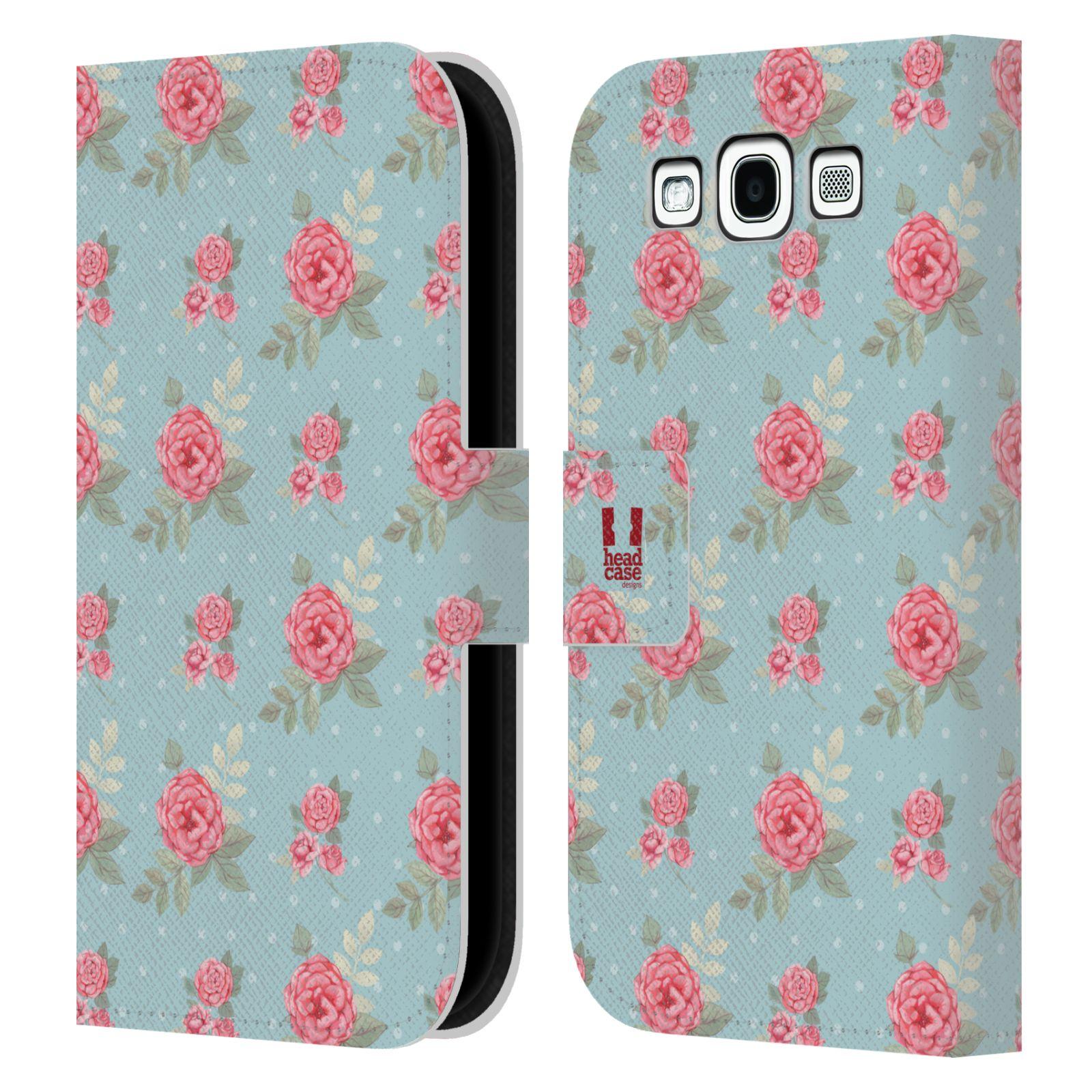 HEAD CASE Flipové pouzdro pro mobil Samsung Galaxy S3 romantické květy anglické růže modrá a růžová
