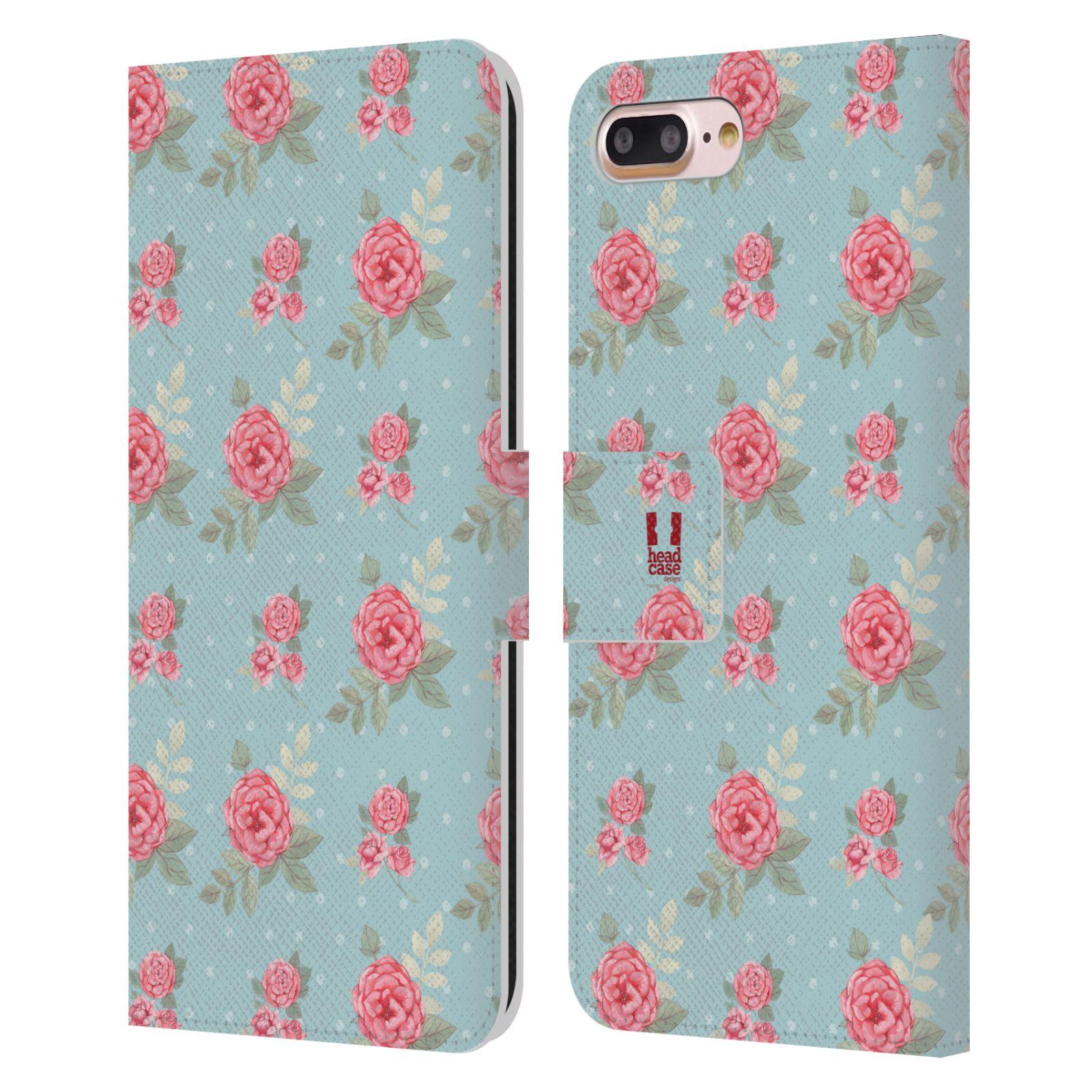 HEAD CASE Flipové pouzdro pro mobil Apple Iphone 7 PLUS / 8 PLUS romantické květy anglické růže modrá a růžová