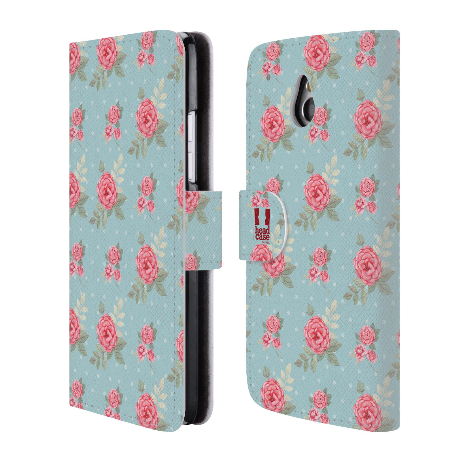 HEAD CASE Flipové pouzdro pro mobil HTC ONE MINI (M4) romantické květy anglické růže modrá a růžová