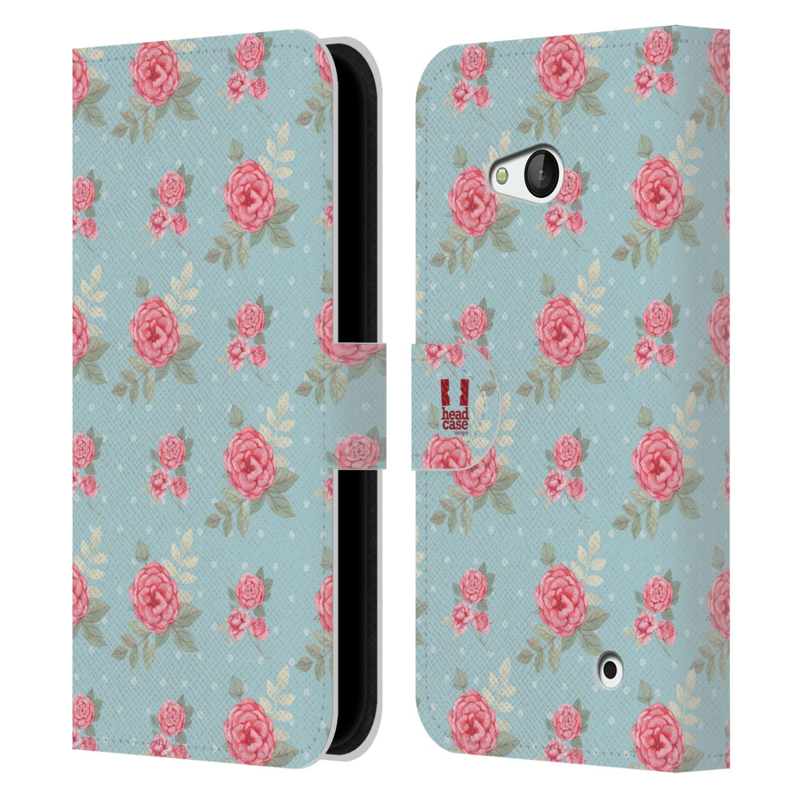 HEAD CASE Flipové pouzdro pro mobil NOKIA / MICROSOFT LUMIA 640 / LUMIA 640 DUAL romantické květy anglické růže modrá a růžová