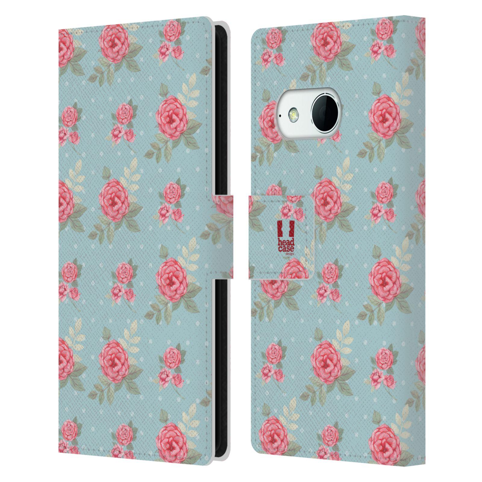 HEAD CASE Flipové pouzdro pro mobil HTC ONE MINI 2 (M8) romantické květy anglické růže modrá a růžová