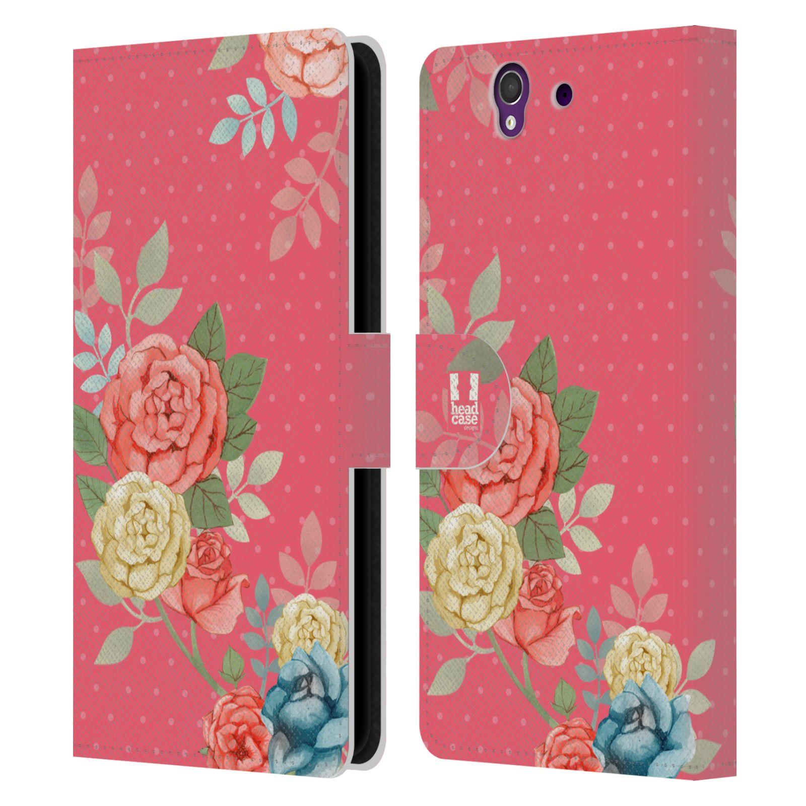 HEAD CASE Flipové pouzdro pro mobil SONY XPERIA Z (C6603) romantické květy růžová