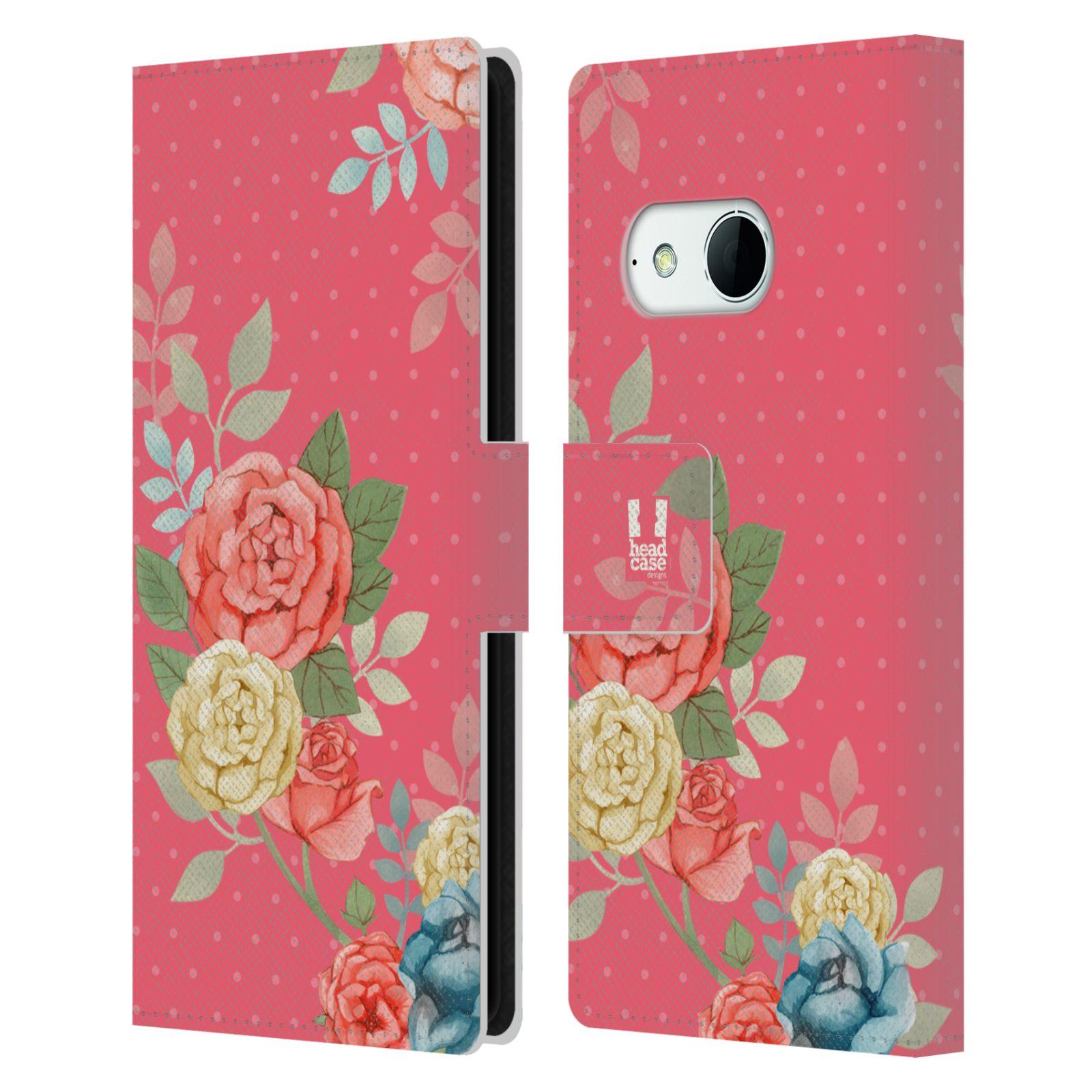 HEAD CASE Flipové pouzdro pro mobil HTC ONE MINI 2 (M8) romantické květy růžová