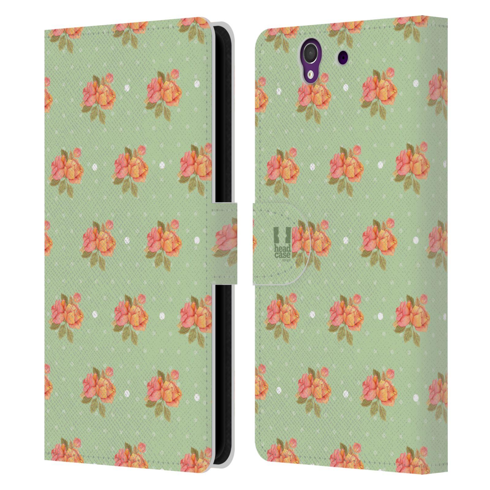HEAD CASE Flipové pouzdro pro mobil SONY XPERIA Z (C6603) romantické květy jaro zelená