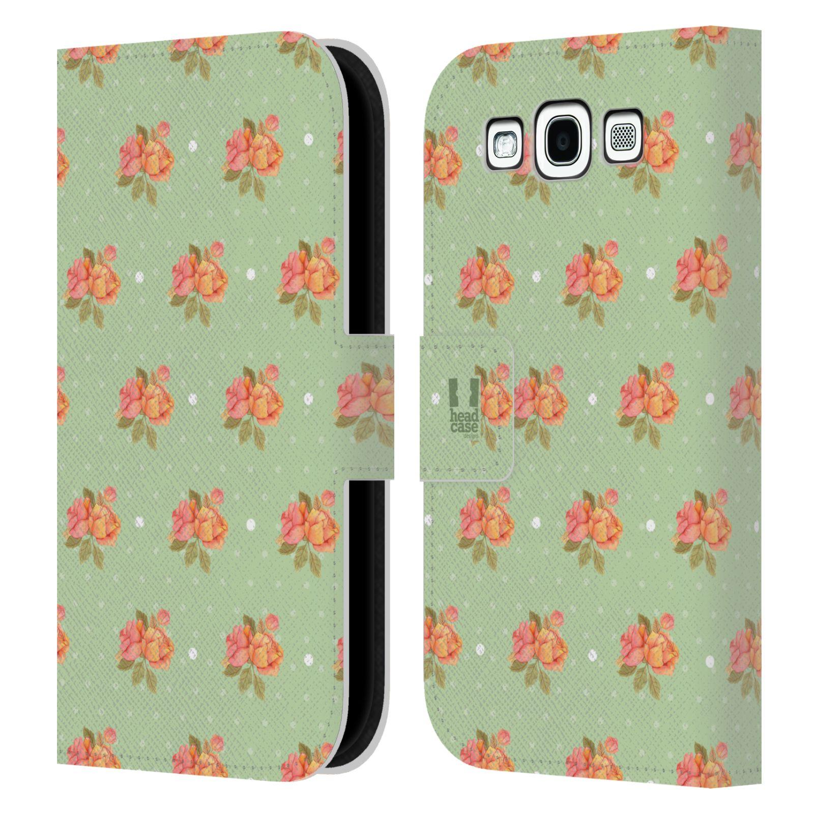HEAD CASE Flipové pouzdro pro mobil Samsung Galaxy S3 romantické květy jaro zelená