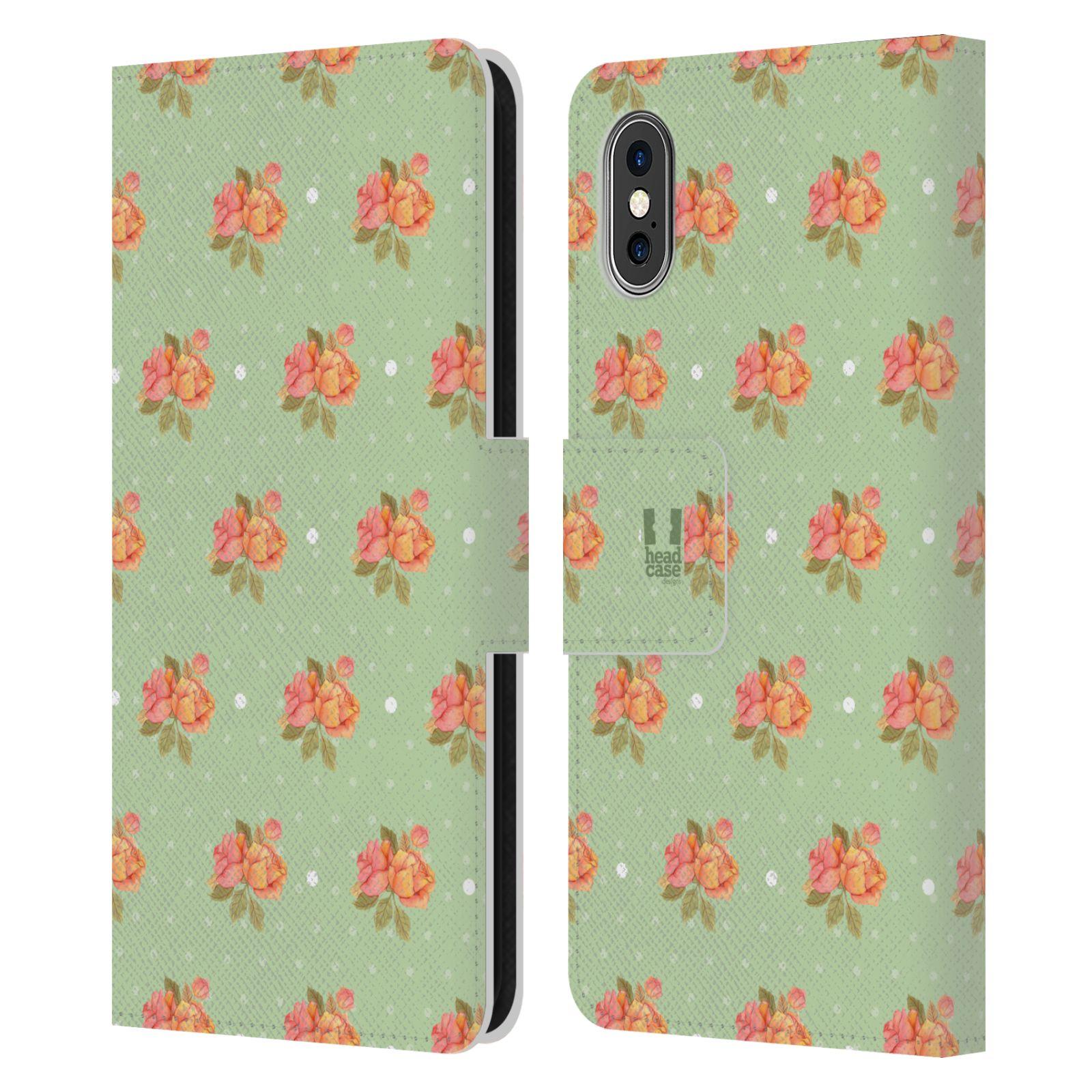 HEAD CASE Flipové pouzdro pro mobil Apple Iphone X / XS romantické květy jaro zelená