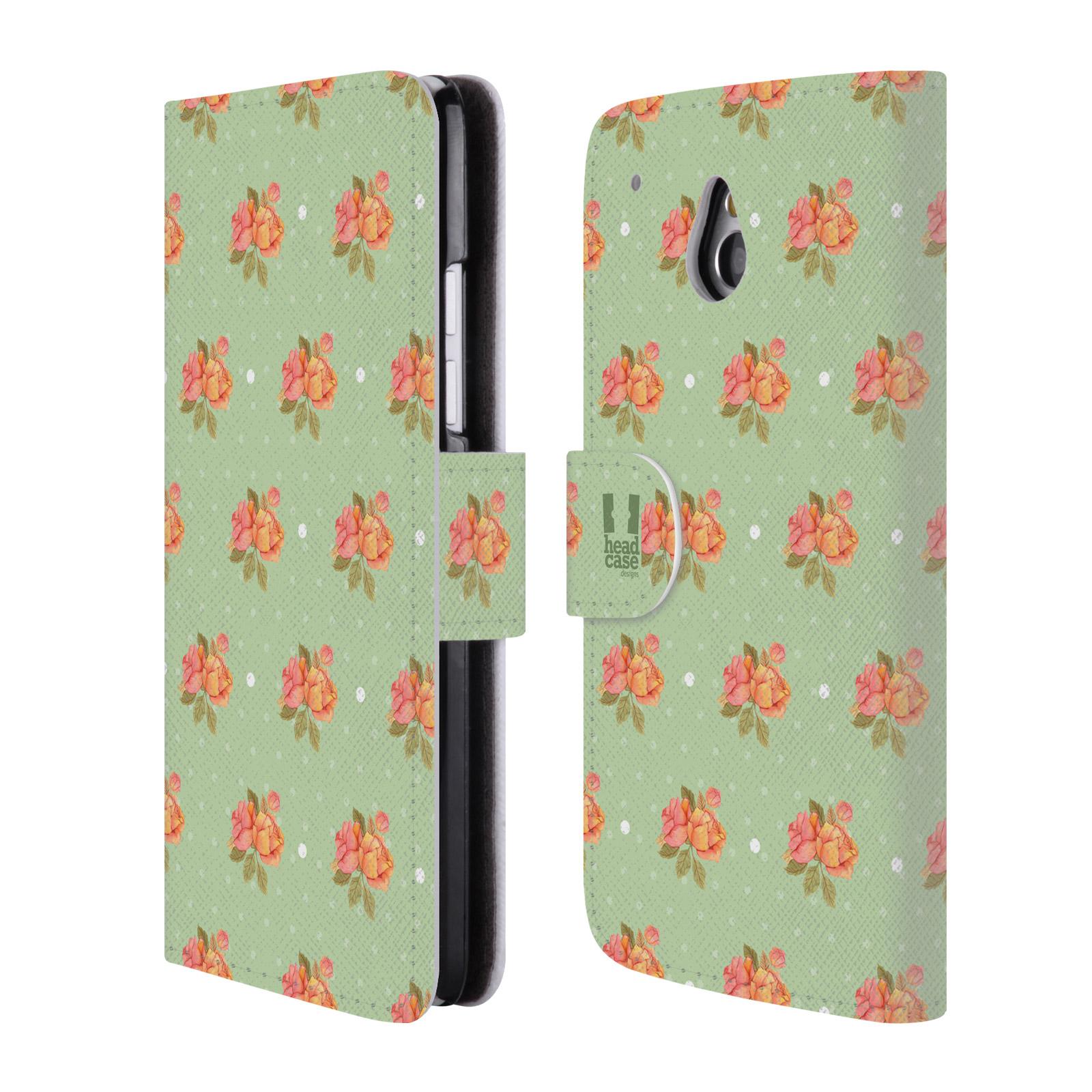 HEAD CASE Flipové pouzdro pro mobil HTC ONE MINI (M4) romantické květy jaro zelená