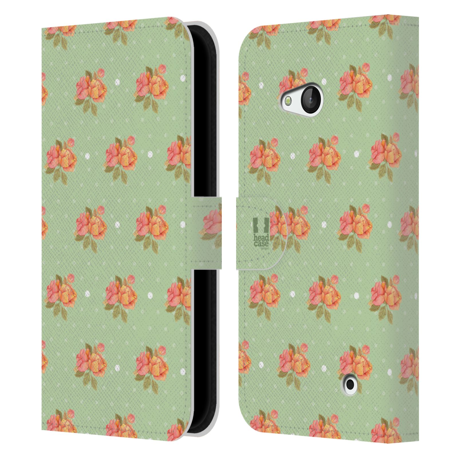 HEAD CASE Flipové pouzdro pro mobil NOKIA / MICROSOFT LUMIA 640 / LUMIA 640 DUAL romantické květy jaro zelená
