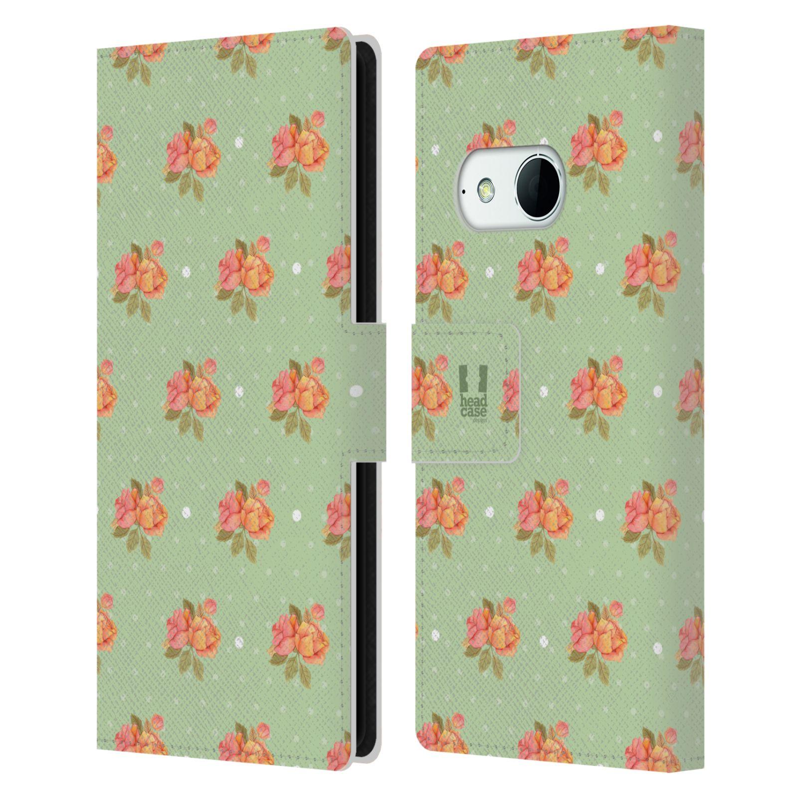 HEAD CASE Flipové pouzdro pro mobil HTC ONE MINI 2 (M8) romantické květy jaro zelená