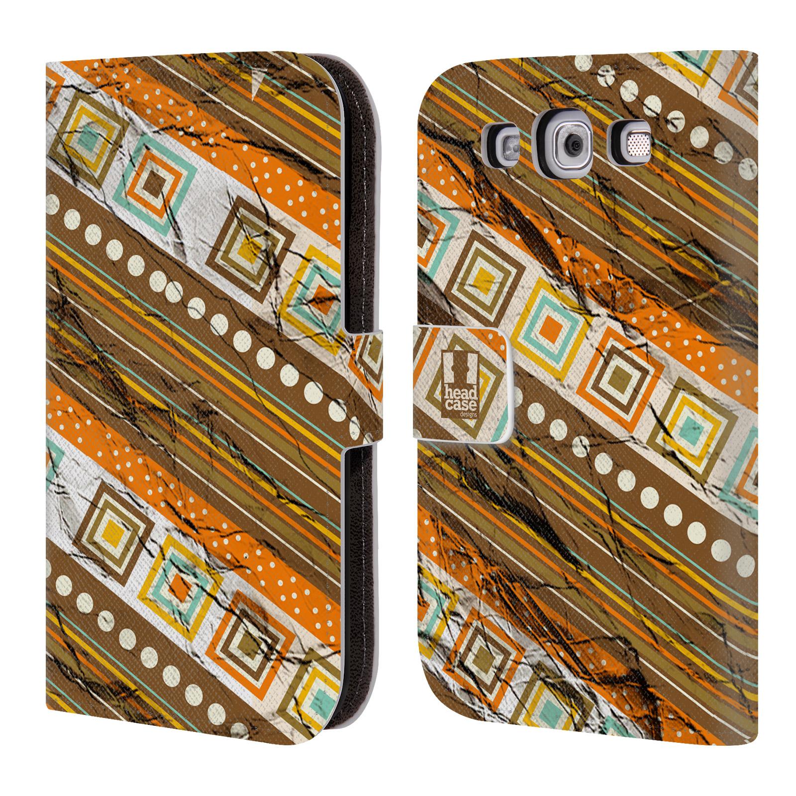 HEAD CASE Flipové pouzdro pro mobil Samsung Galaxy S3 retro textura indie pokrčený