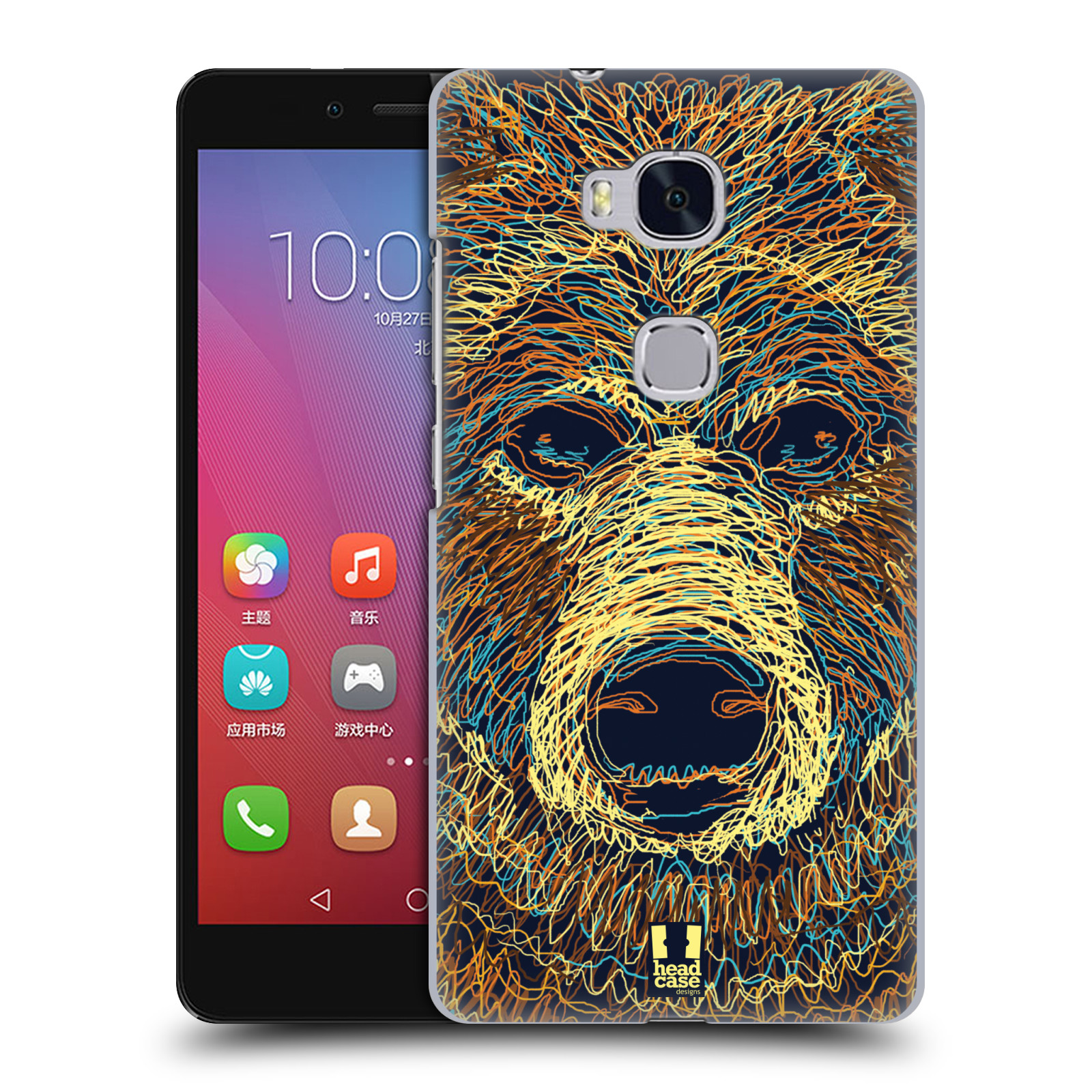 HEAD CASE pevný plastový obal na mobil HUAWEI HONOR 5X vzor zvíře čmáranice medvěd