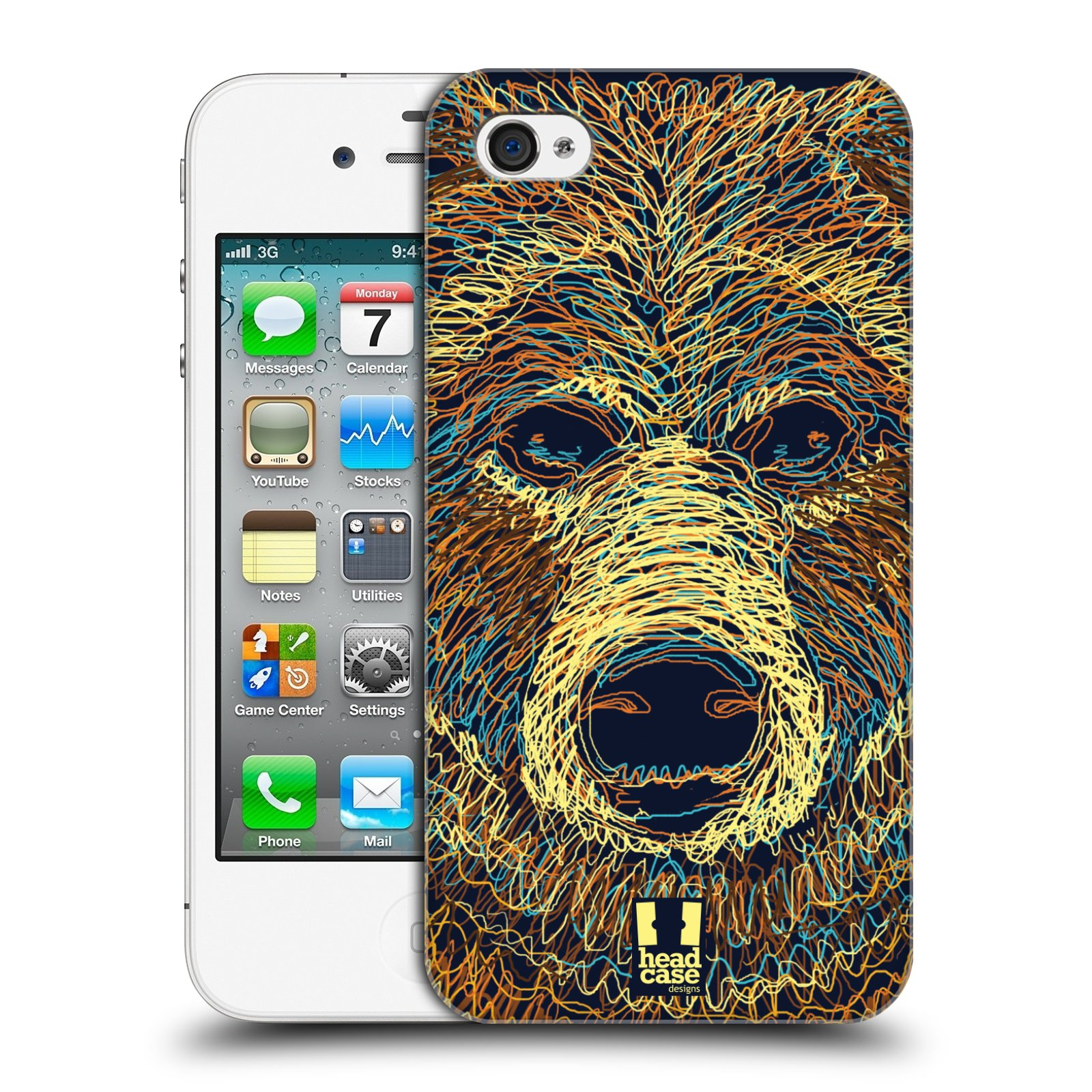 HEAD CASE plastový obal na mobil Apple Iphone 4/4S vzor zvíře čmáranice medvěd