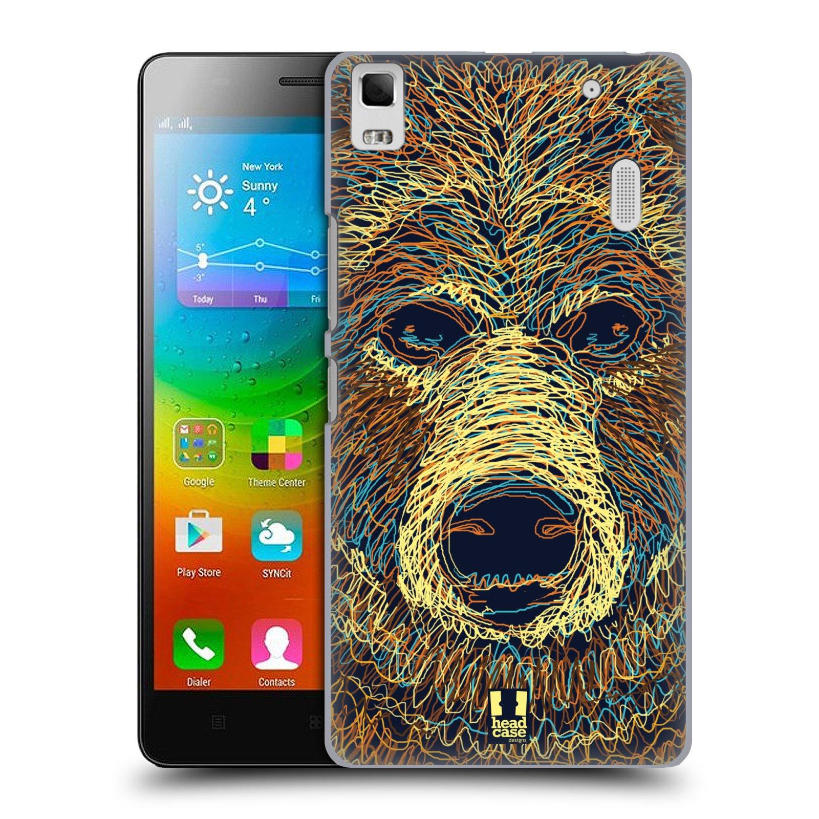 HEAD CASE pevný plastový obal na mobil LENOVO A7000 / A7000 DUAL / K3 NOTE vzor zvíře čmáranice medvěd