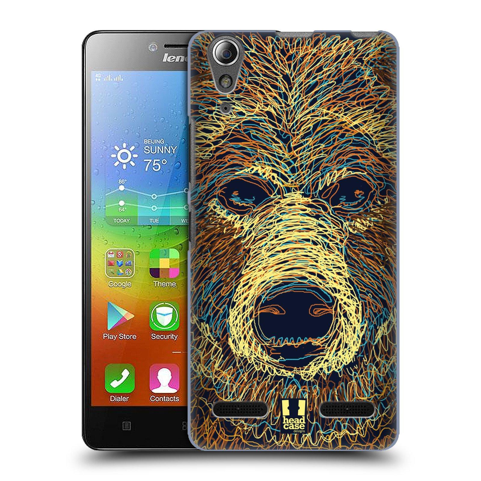 HEAD CASE pevný plastový obal na mobil LENOVO A6000 / A6000 PLUS vzor zvíře čmáranice medvěd