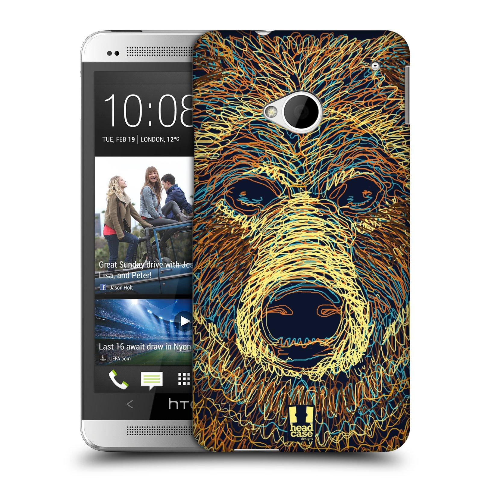 HEAD CASE plastový obal na mobil HTC One (M7) vzor zvíře čmáranice medvěd