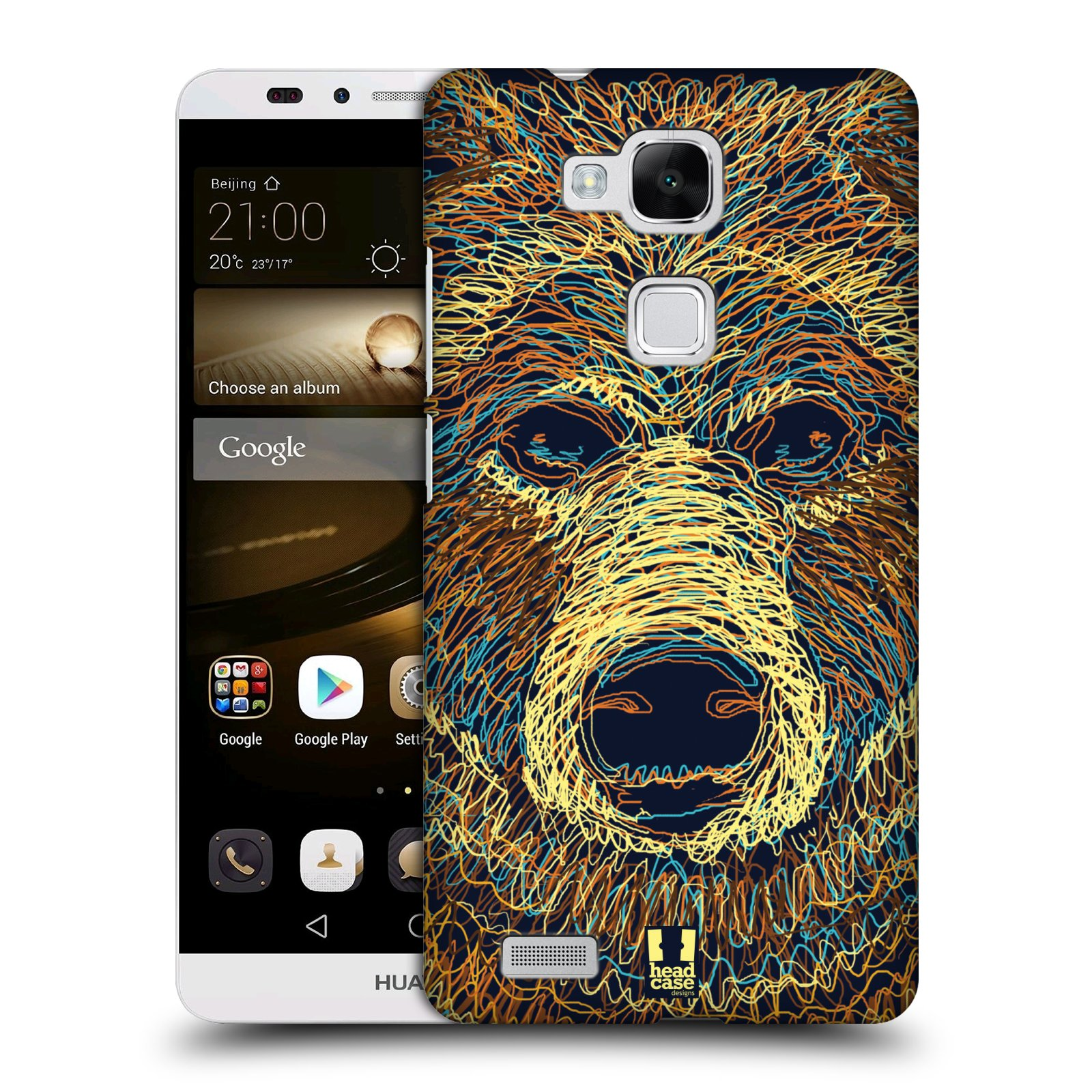HEAD CASE plastový obal na mobil Huawei Mate 7 vzor zvíře čmáranice medvěd