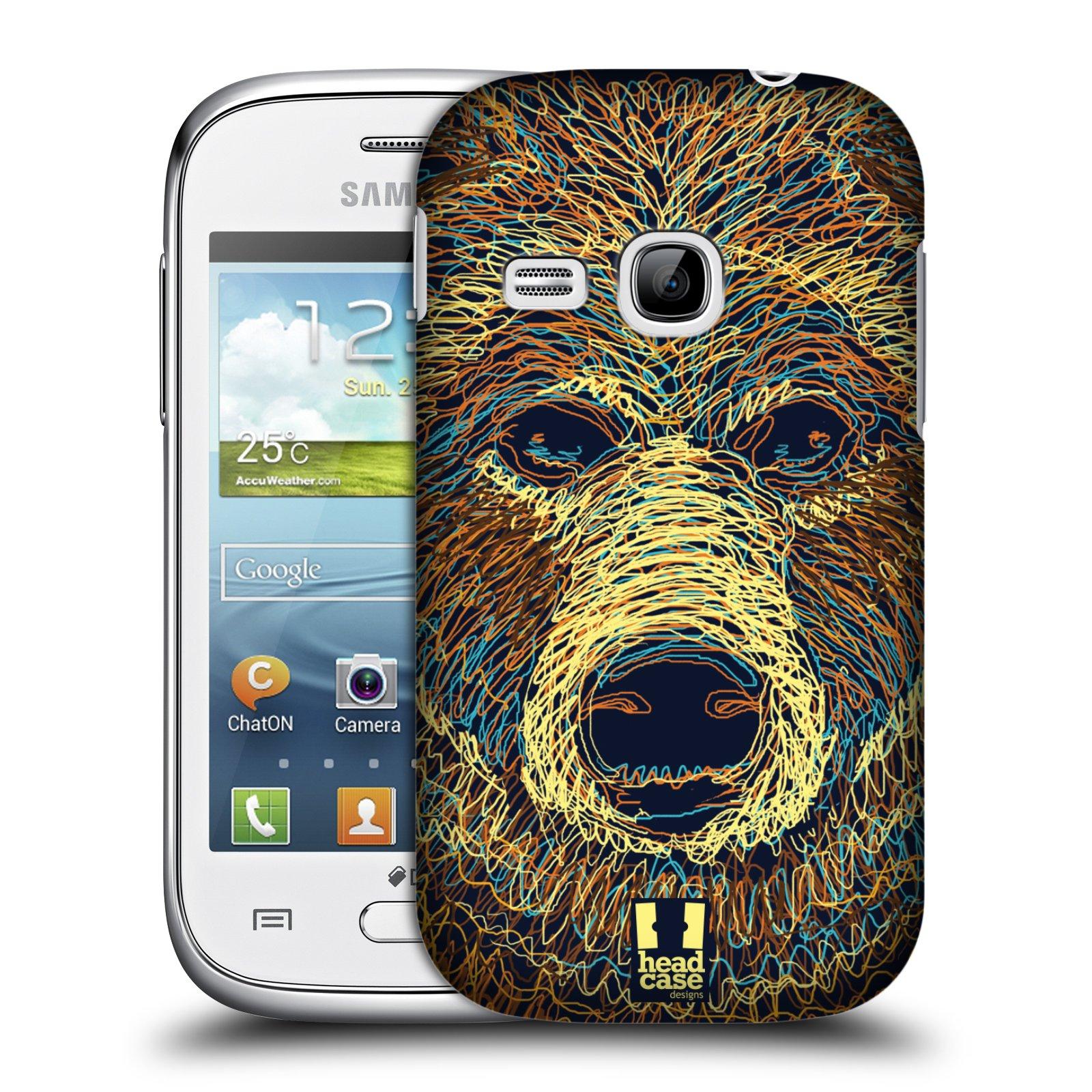 HEAD CASE plastový obal na mobil SAMSUNG Galaxy Young S6310 vzor zvíře čmáranice medvěd