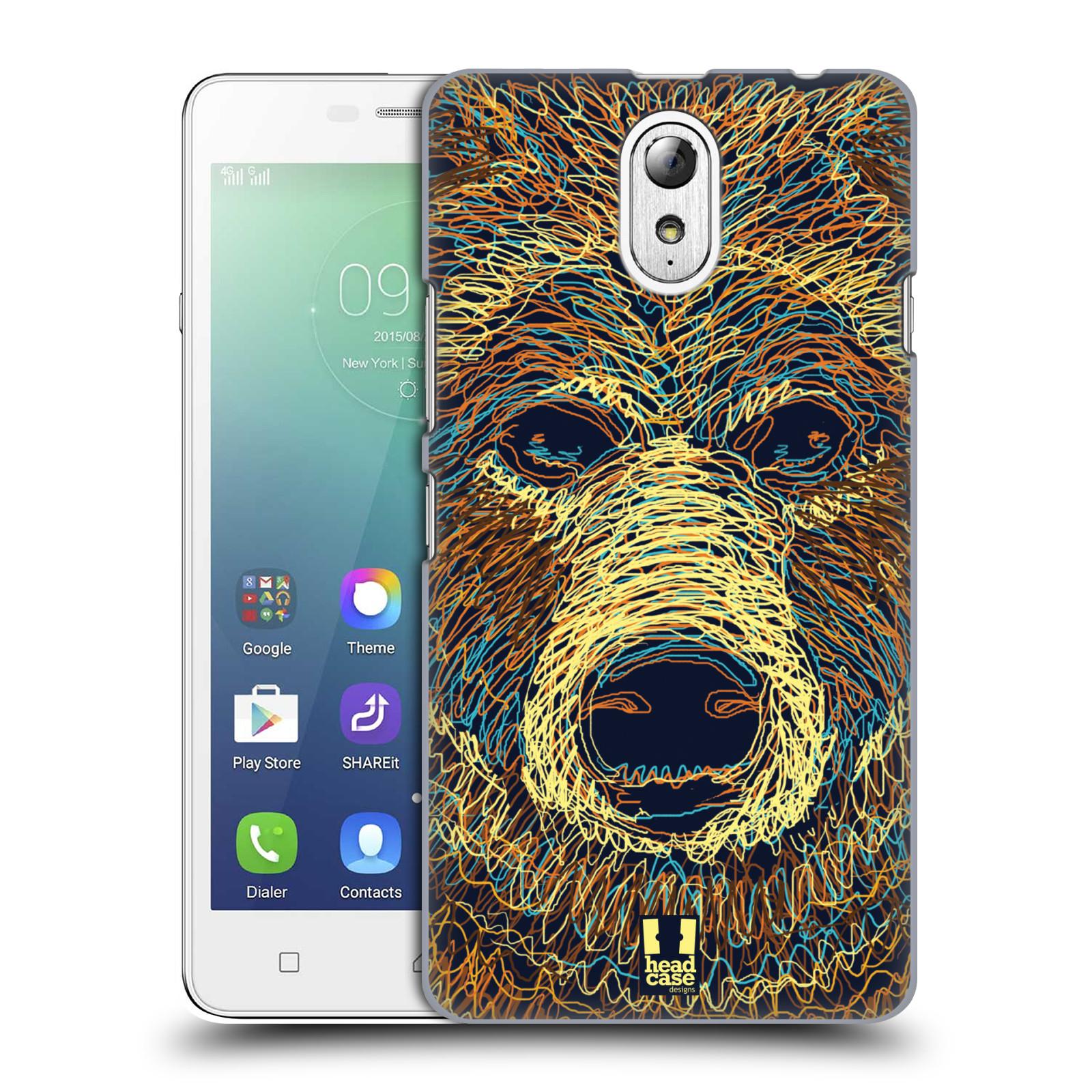 HEAD CASE pevný plastový obal na mobil LENOVO VIBE P1m / LENOVO VIBE p1m DUAL SIM vzor zvíře čmáranice medvěd