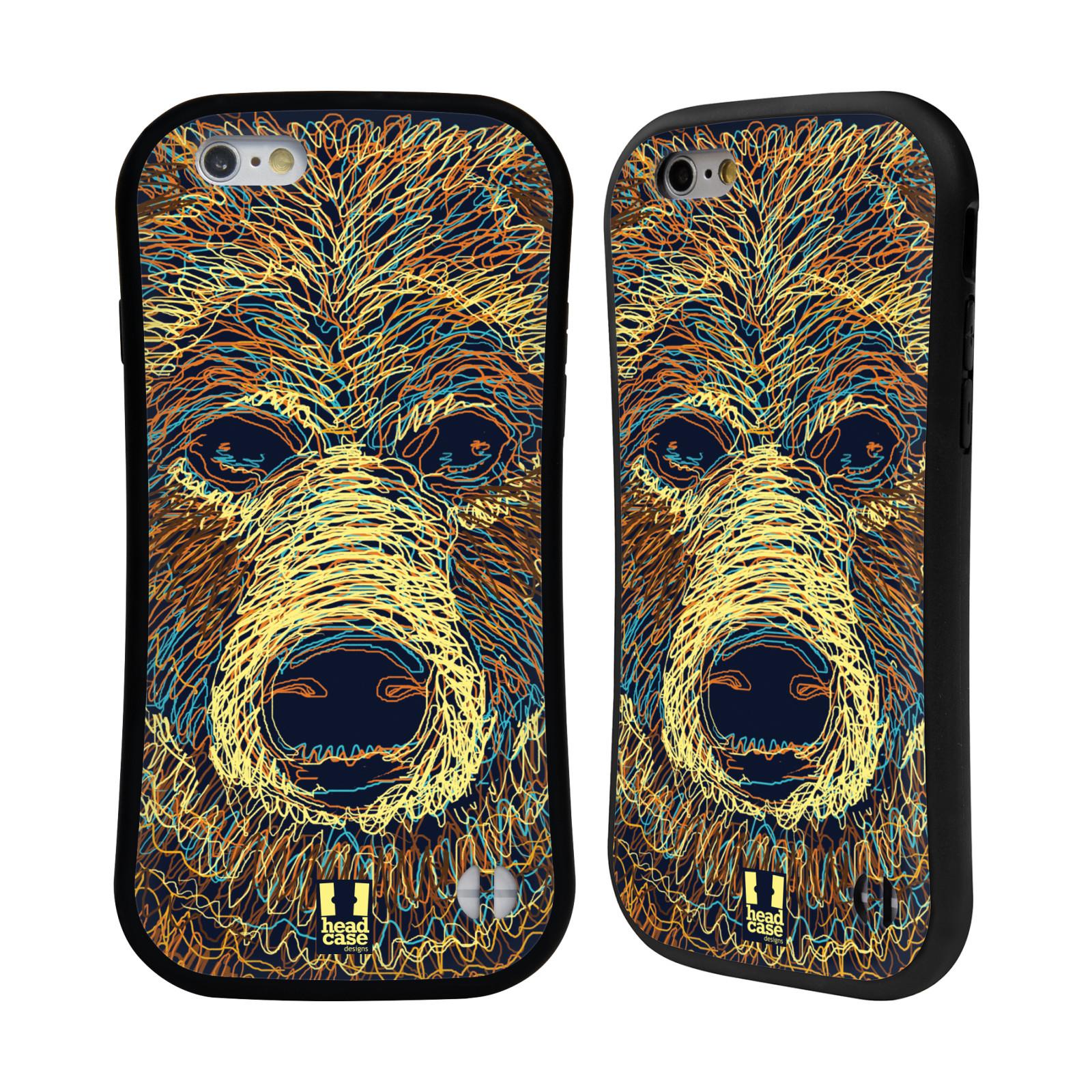 HEAD CASE silikon/plast odolný obal na mobil Apple Iphone 6/6S vzor zvíře čmáranice medvěd