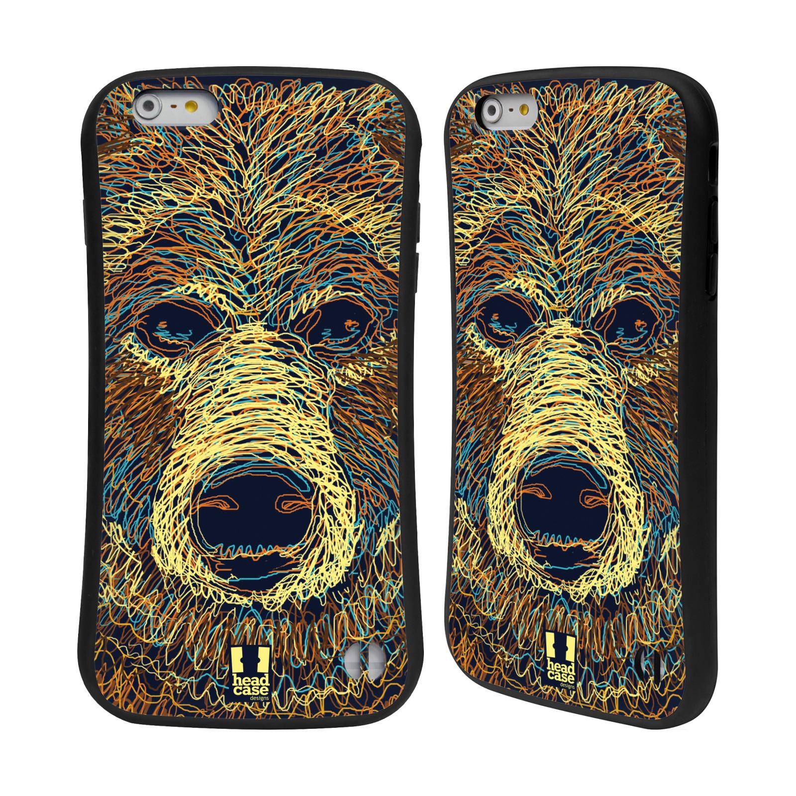HEAD CASE silikon/plast odolný obal na mobil Apple Iphone 6 PLUS / 6S PLUS vzor zvíře čmáranice medvěd