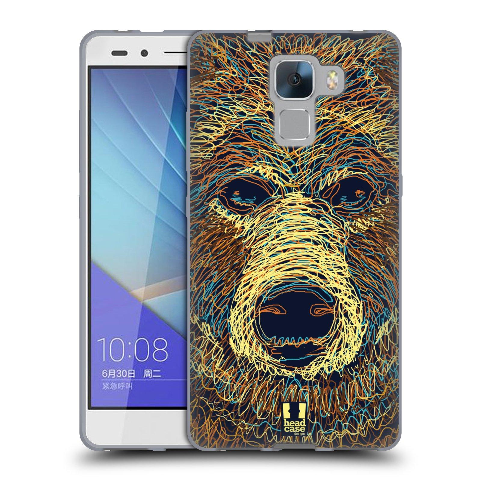 HEAD CASE silikonový obal na mobil HUAWEI HONOR 7 vzor zvíře čmáranice medvěd