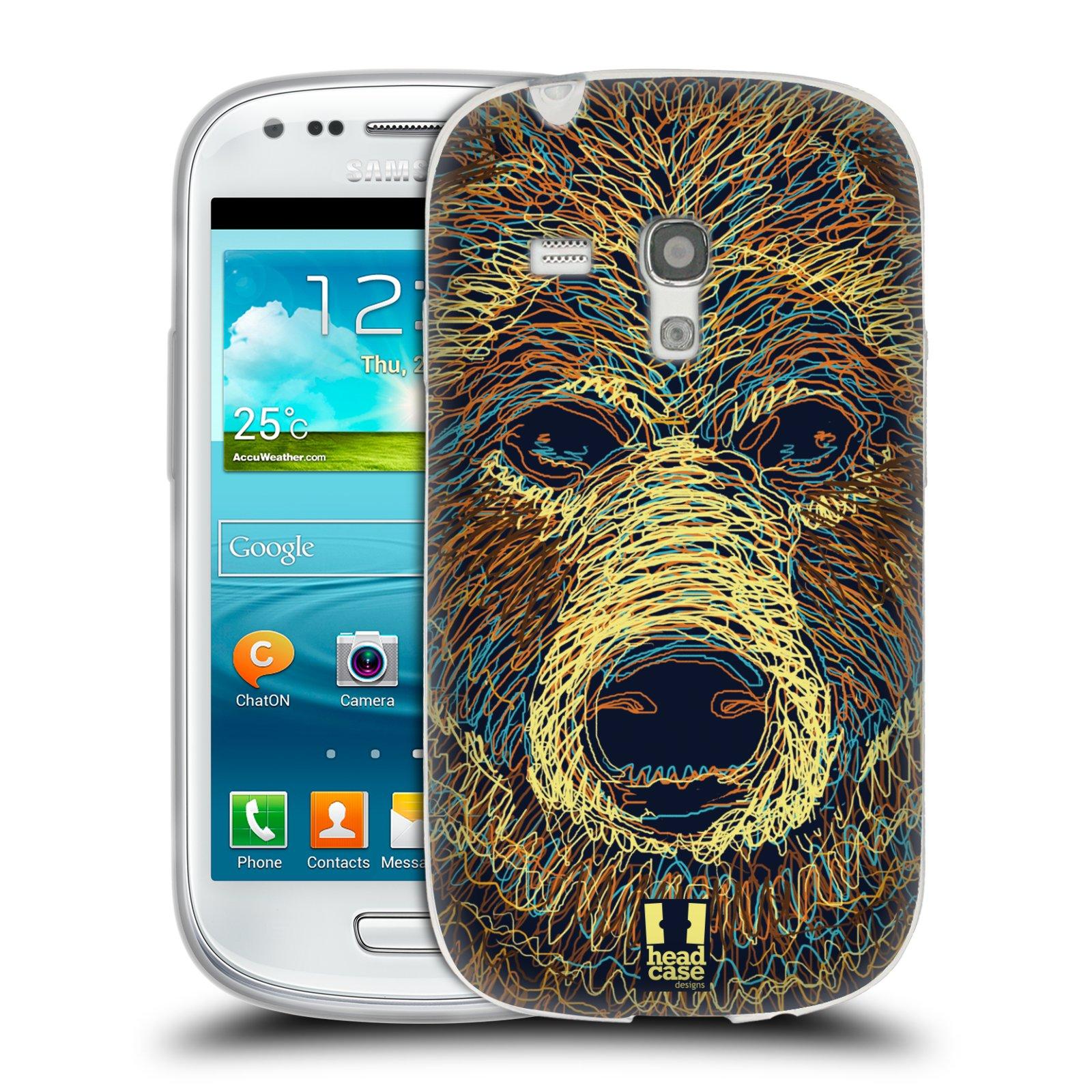 HEAD CASE silikonový obal na mobil Samsung Galaxy S3 MINI i8190 vzor zvíře čmáranice medvěd