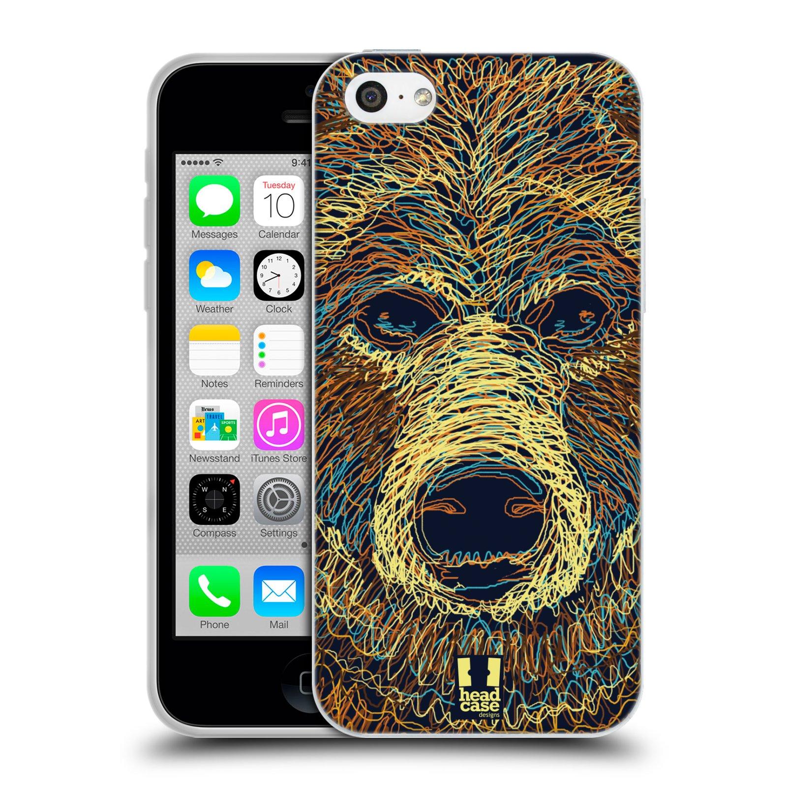HEAD CASE silikonový obal na mobil Apple Iphone 5C vzor zvíře čmáranice medvěd
