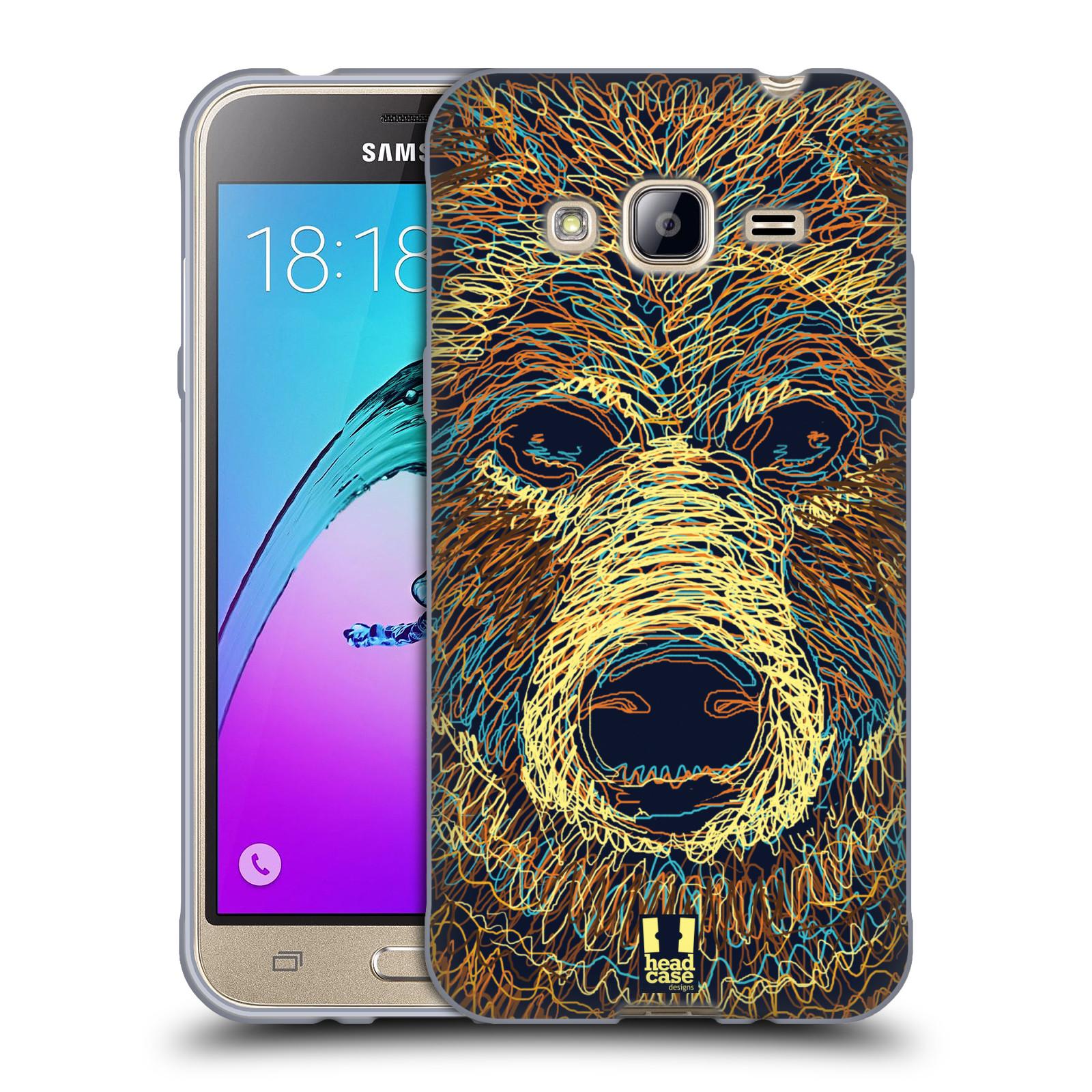 HEAD CASE silikonový obal na mobil Samsung Galaxy J3, J3 2016 vzor zvíře čmáranice medvěd