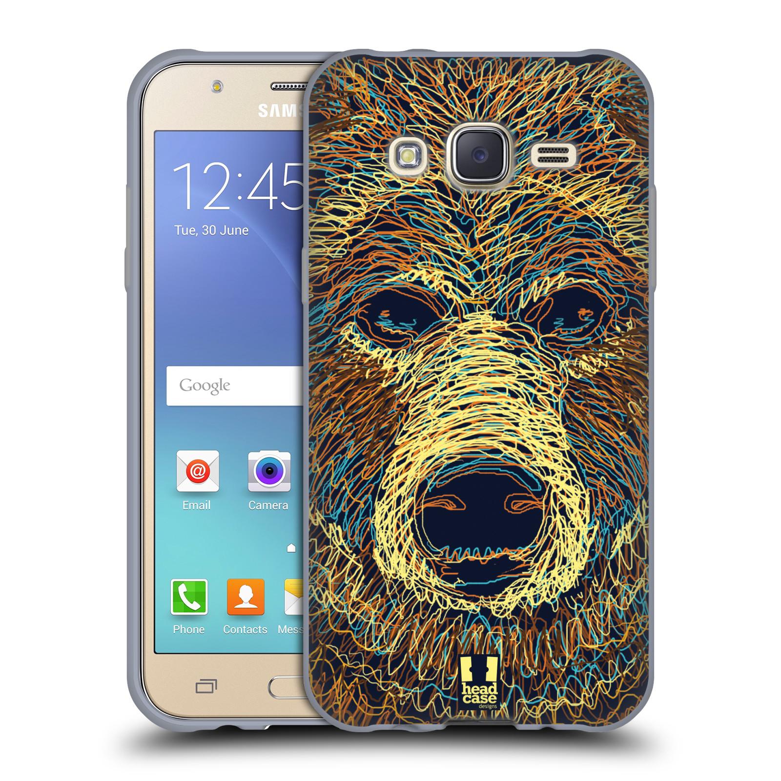 HEAD CASE silikonový obal na mobil Samsung Galaxy J5, J500, (J5 DUOS) vzor zvíře čmáranice medvěd