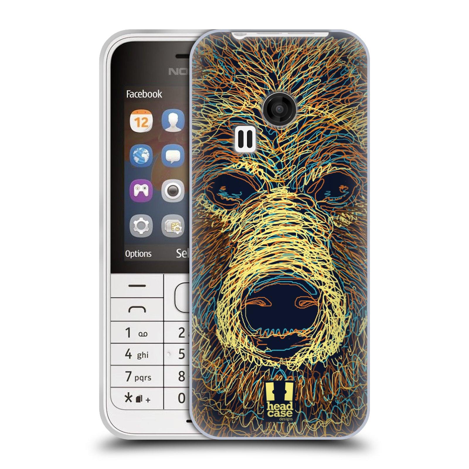 HEAD CASE silikonový obal na mobil NOKIA 220 / NOKIA 220 DUAL SIM vzor zvíře čmáranice medvěd