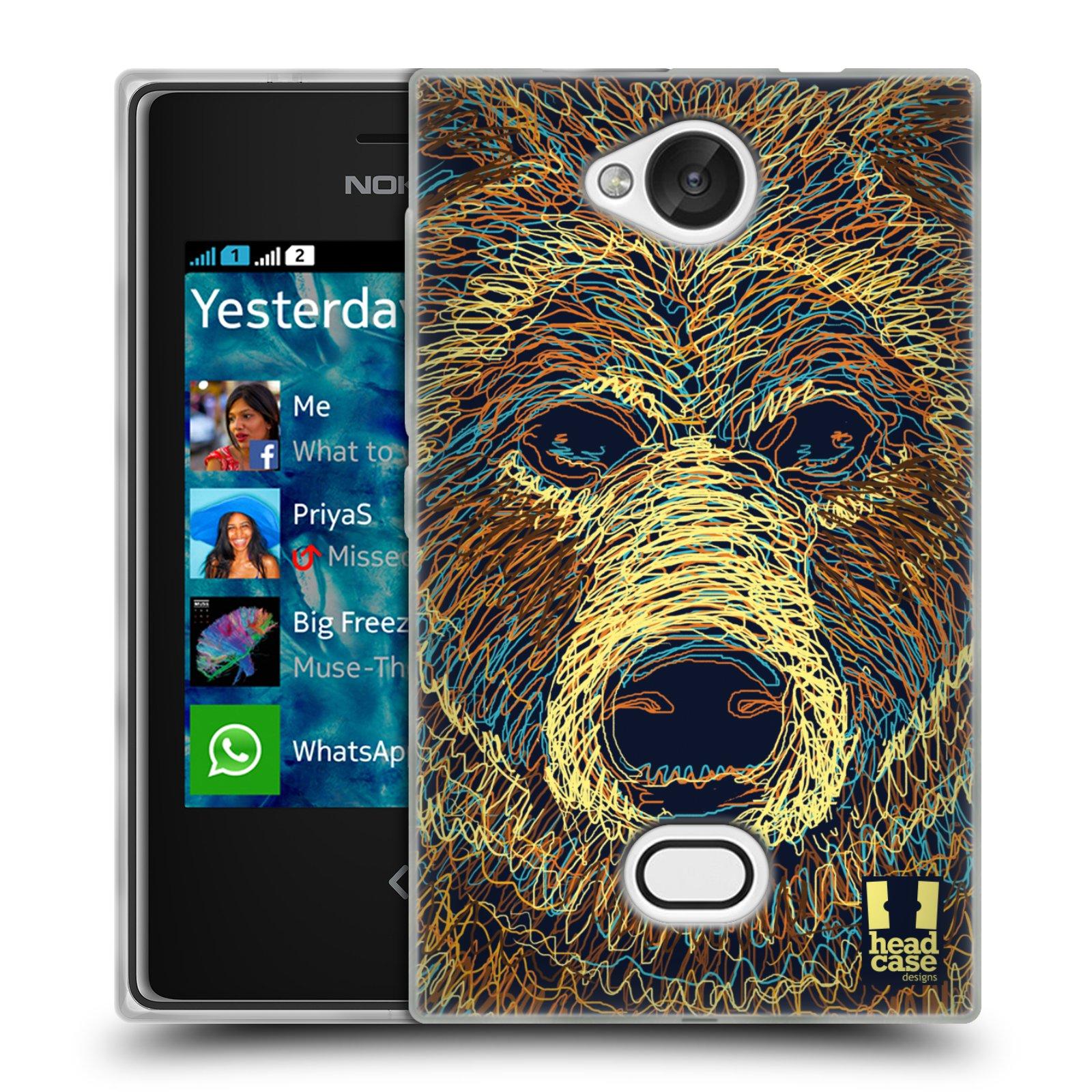 HEAD CASE silikonový obal na mobil NOKIA Asha 503 vzor zvíře čmáranice medvěd
