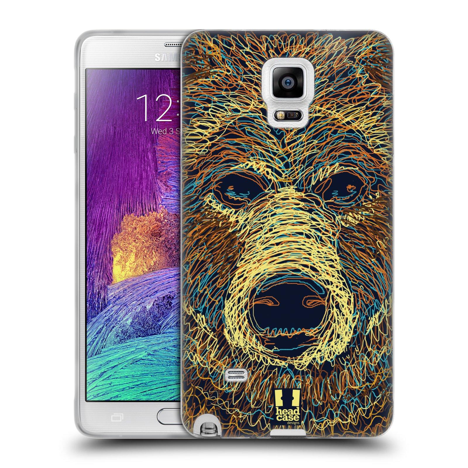HEAD CASE silikonový obal na mobil Samsung Galaxy Note 4 (N910) vzor zvíře čmáranice medvěd