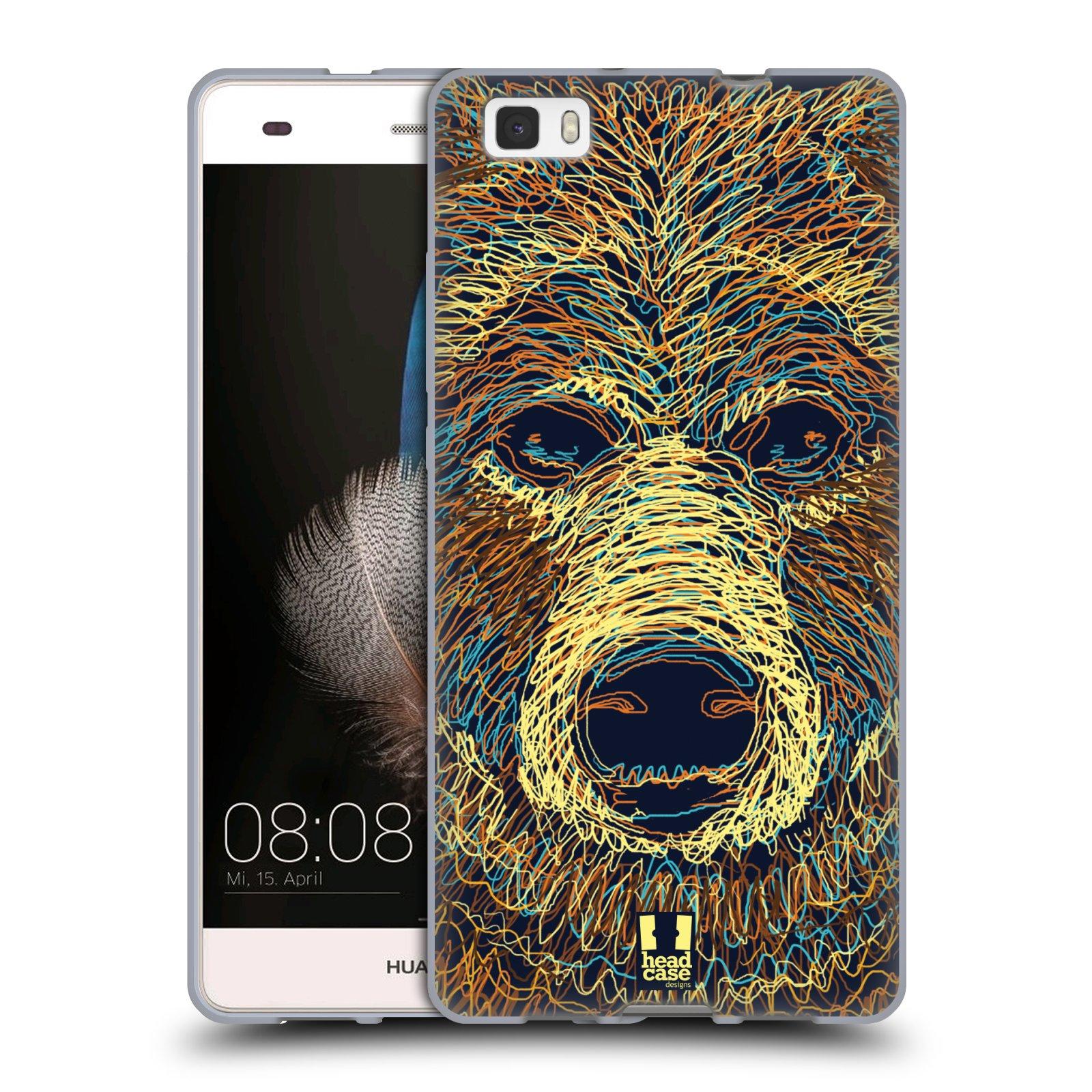 HEAD CASE silikonový obal na mobil HUAWEI P8 LITE vzor zvíře čmáranice medvěd