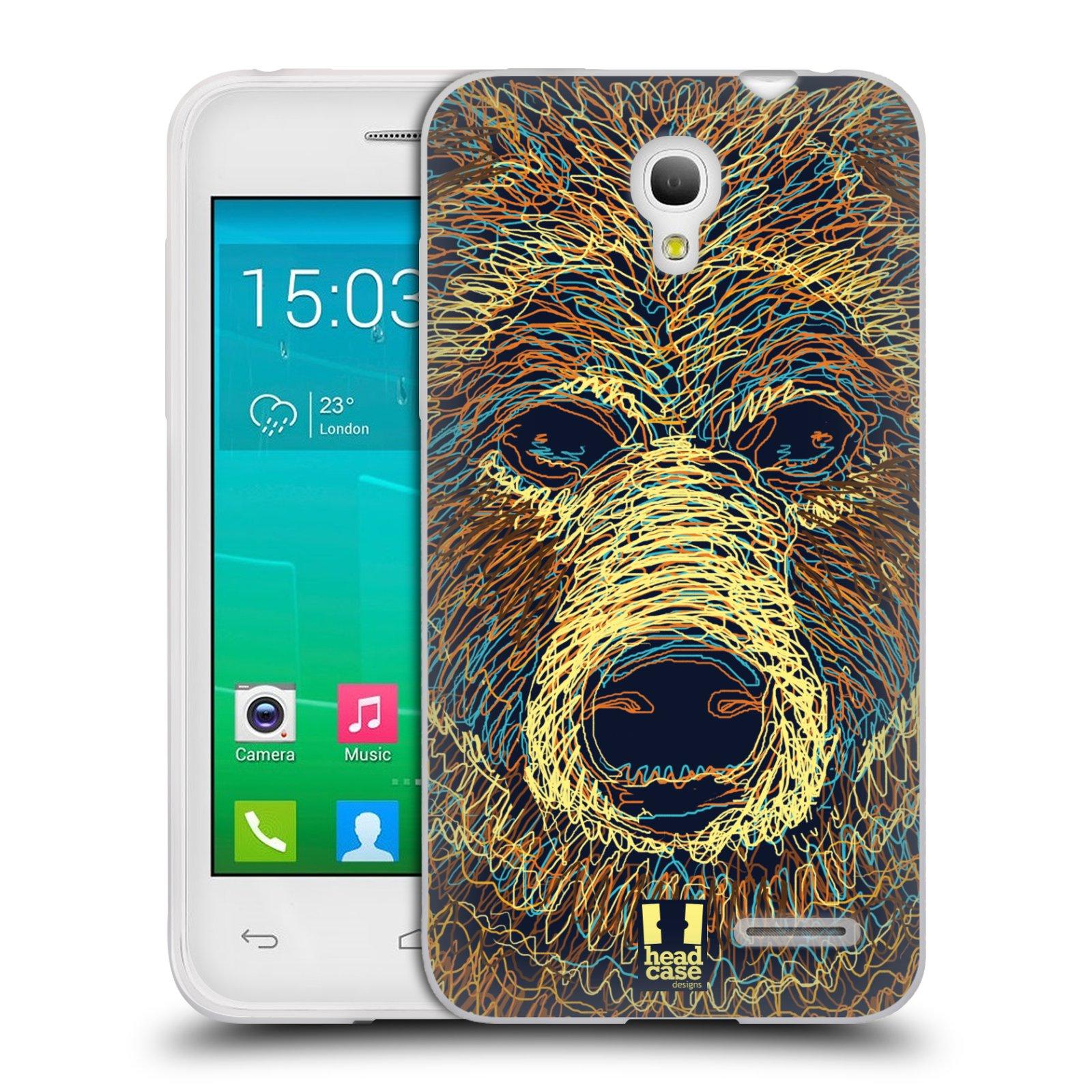 HEAD CASE silikonový obal na mobil Alcatel POP S3 OT-5050Y vzor zvíře čmáranice medvěd