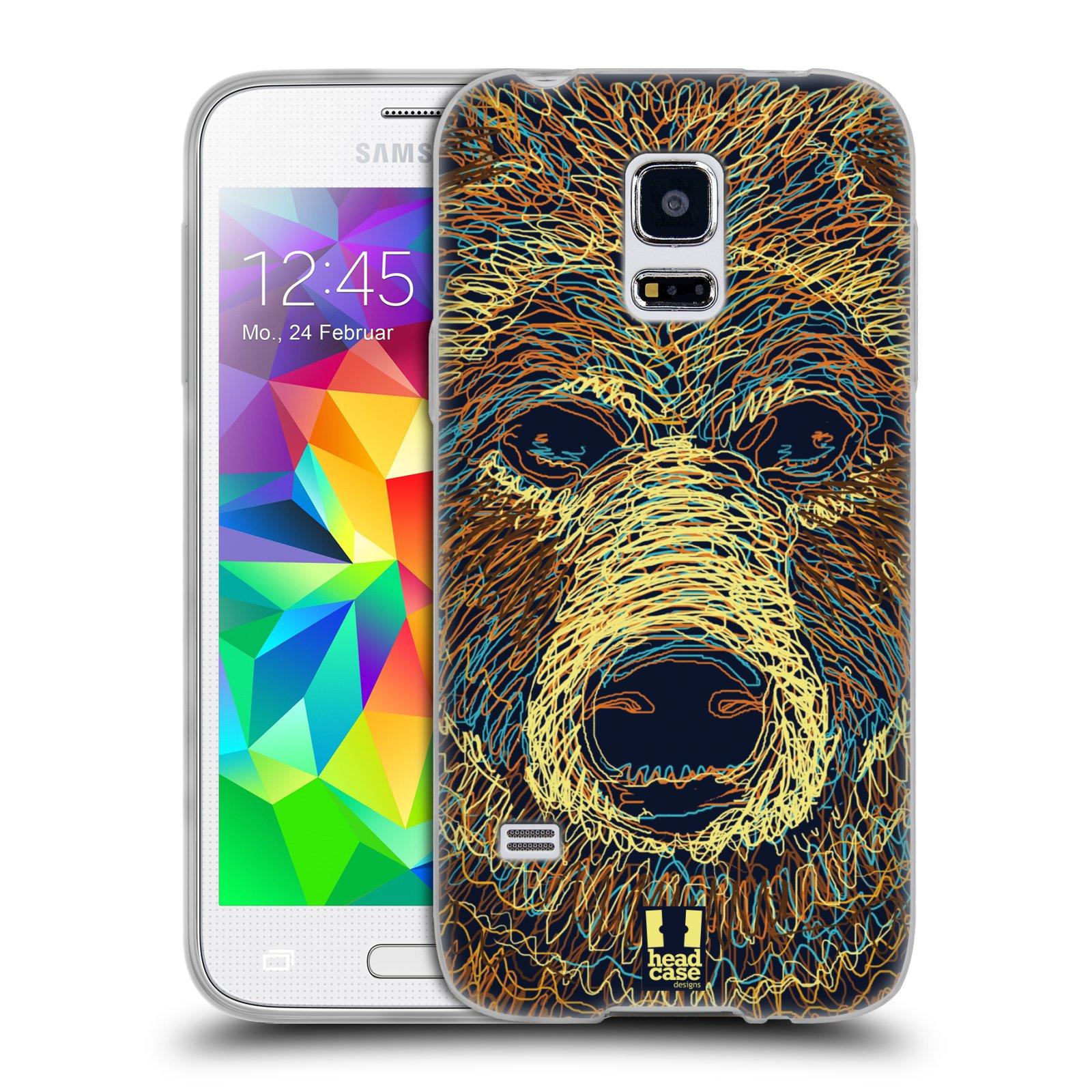 HEAD CASE silikonový obal na mobil Samsung Galaxy S5 MINI vzor zvíře čmáranice medvěd