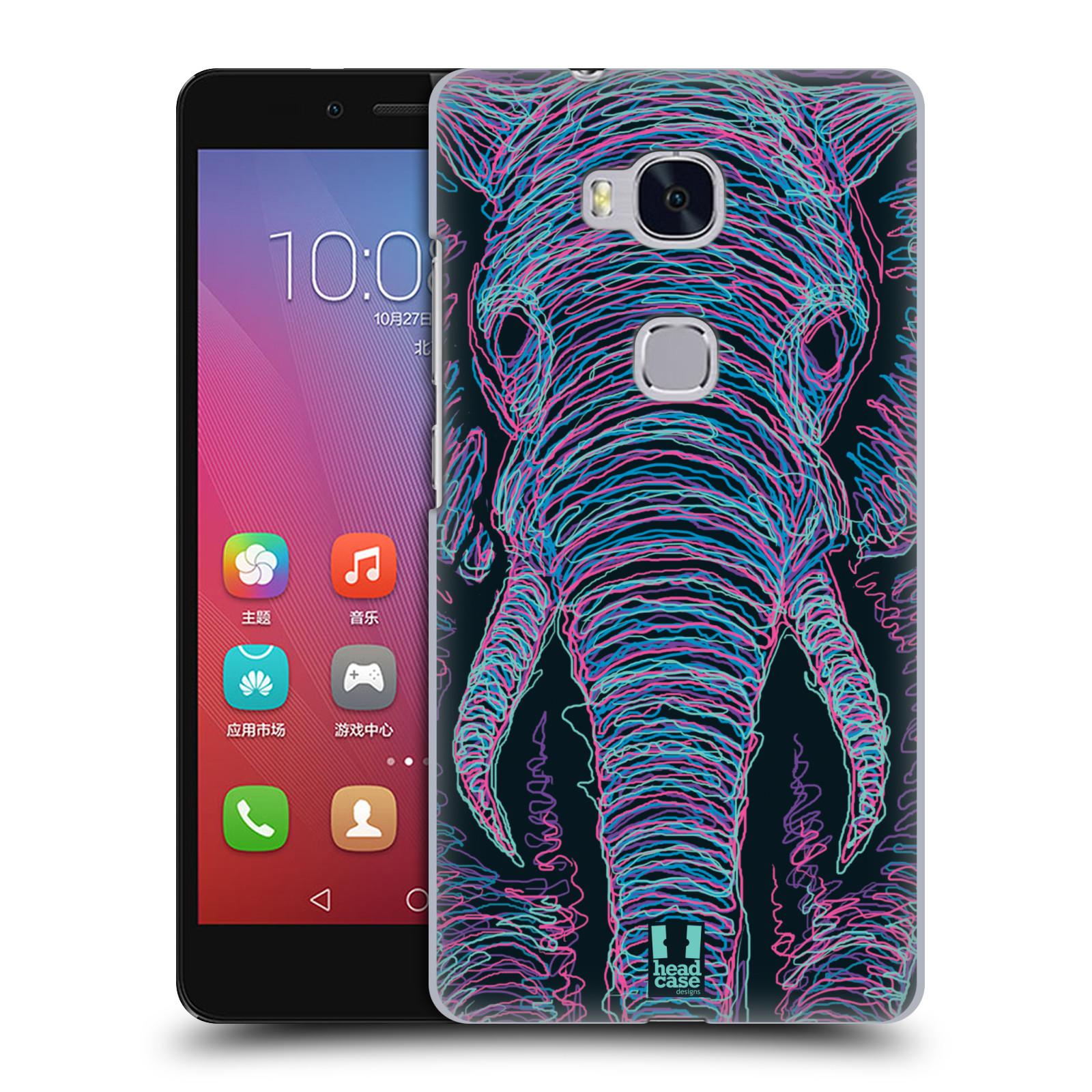 HEAD CASE pevný plastový obal na mobil HUAWEI HONOR 5X vzor zvíře čmáranice slon