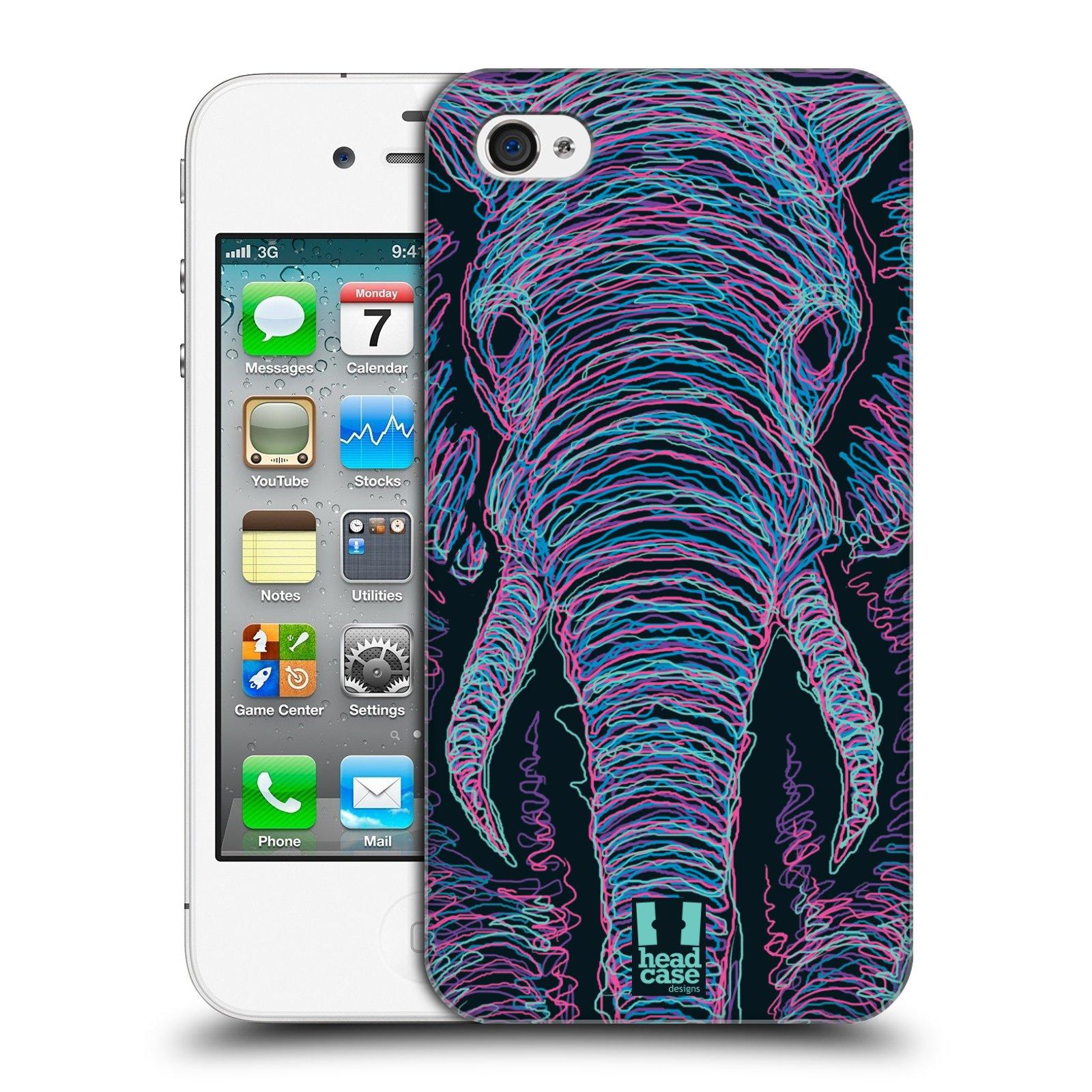 HEAD CASE plastový obal na mobil Apple Iphone 4/4S vzor zvíře čmáranice slon