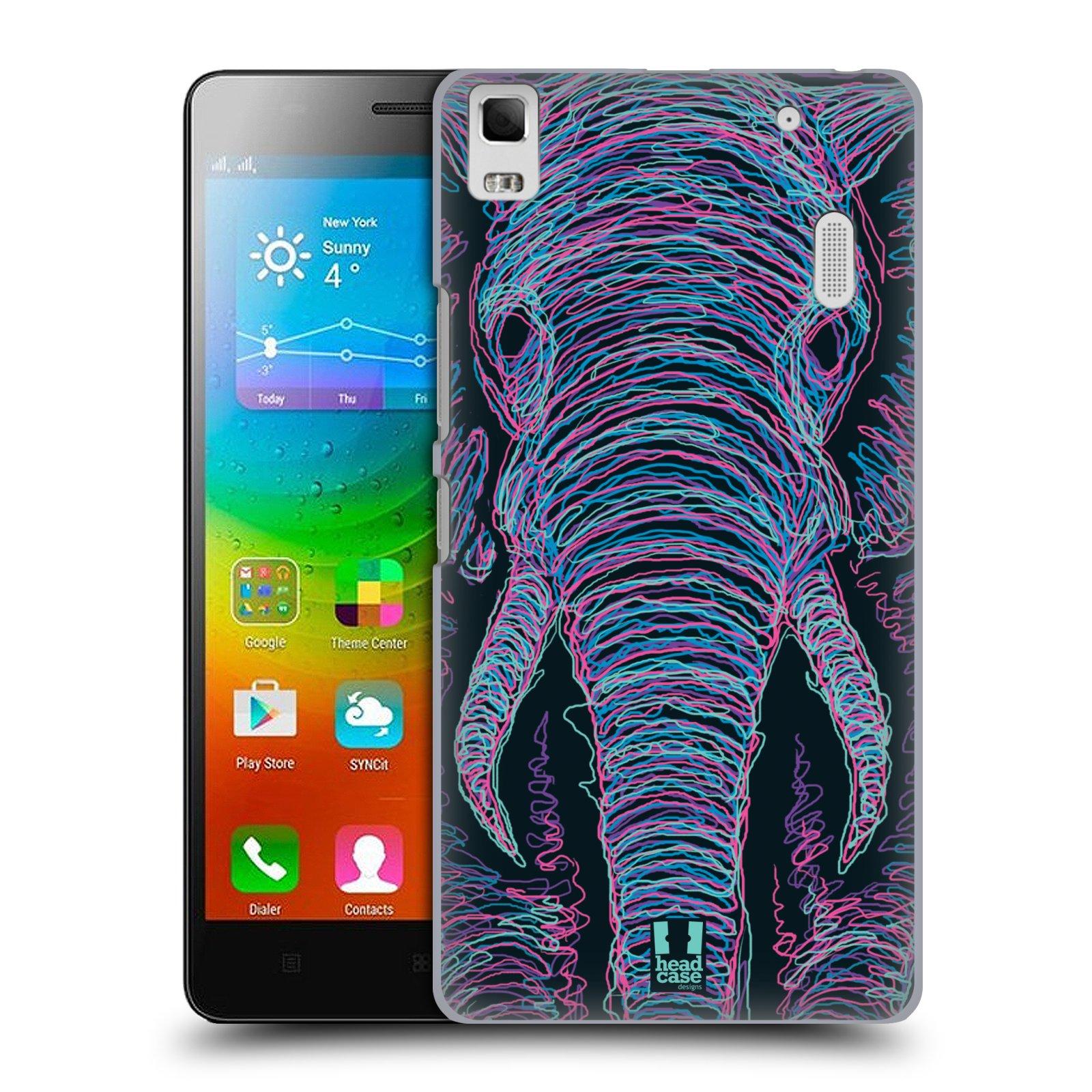 HEAD CASE pevný plastový obal na mobil LENOVO A7000 / A7000 DUAL / K3 NOTE vzor zvíře čmáranice slon