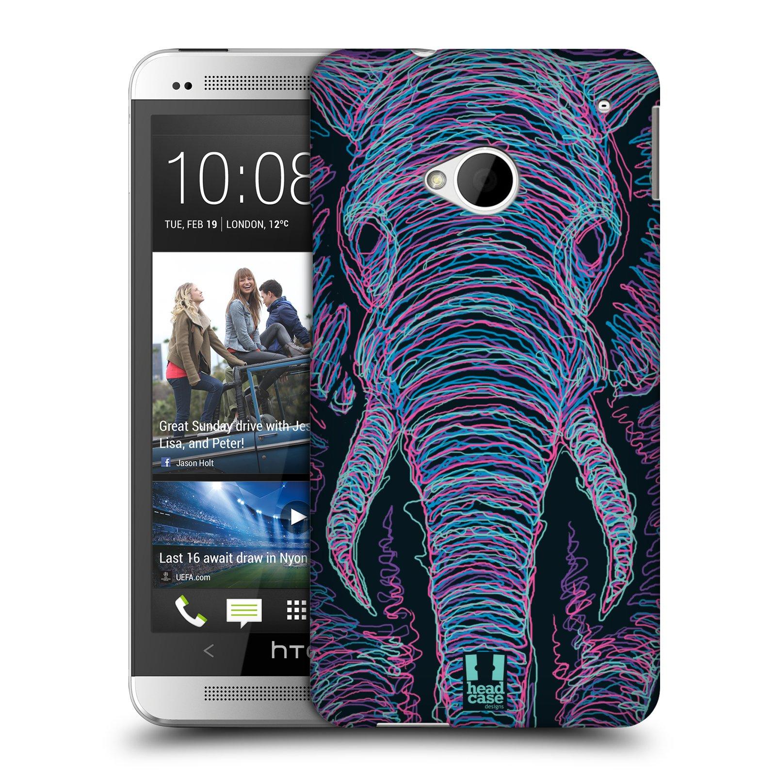 HEAD CASE plastový obal na mobil HTC One (M7) vzor zvíře čmáranice slon