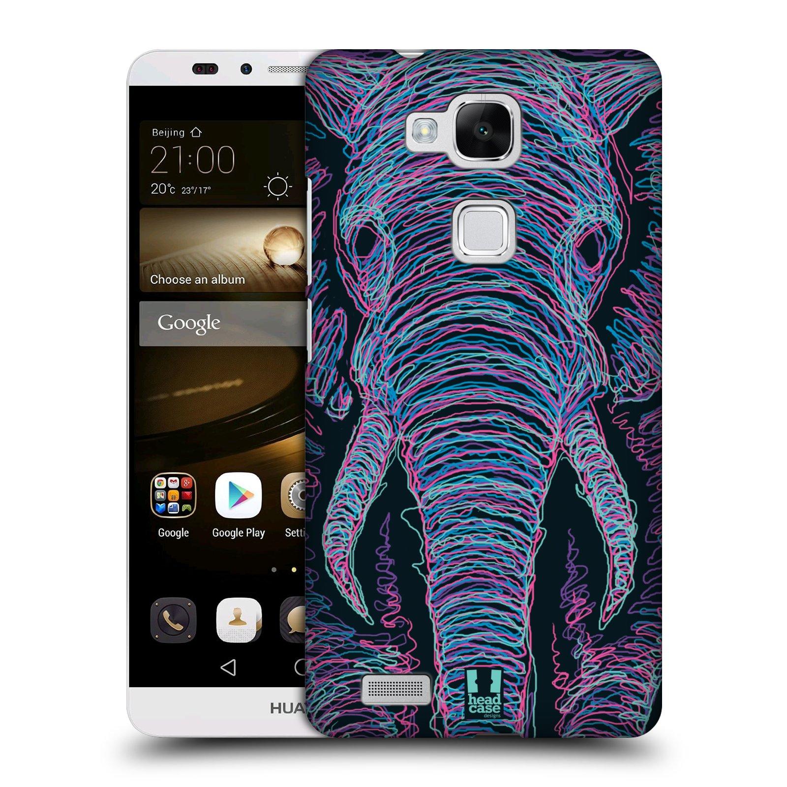 HEAD CASE plastový obal na mobil Huawei Mate 7 vzor zvíře čmáranice slon