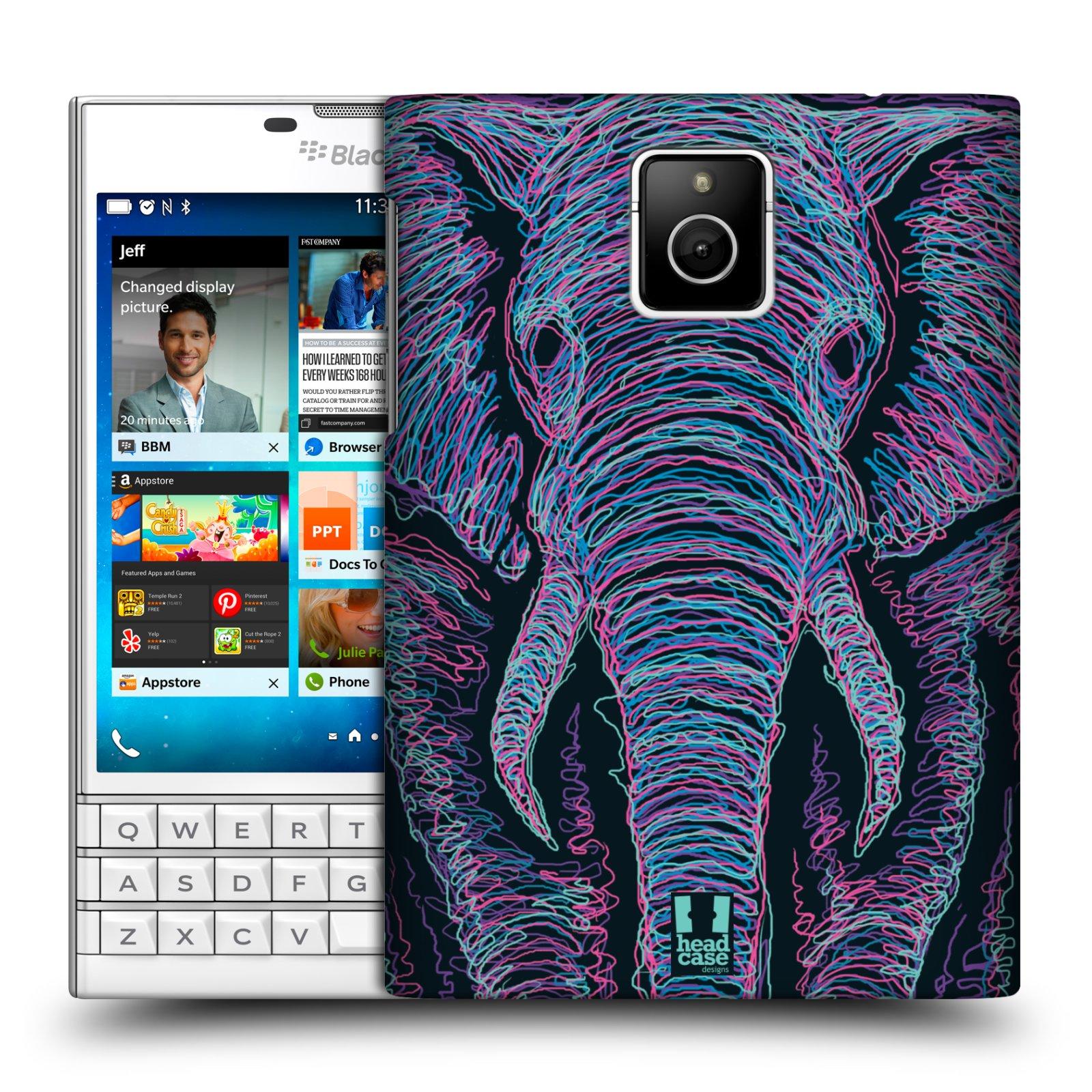 HEAD CASE plastový obal na mobil BlackBerry Passport vzor zvíře čmáranice slon