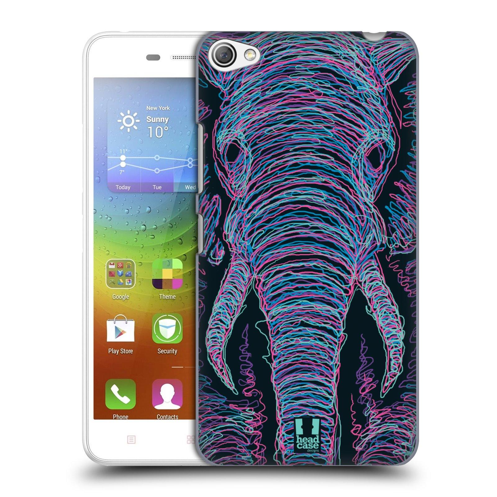 HEAD CASE pevný plastový obal na mobil LENOVO S60 / LENOVO S60 DUAL SIM vzor zvíře čmáranice slon