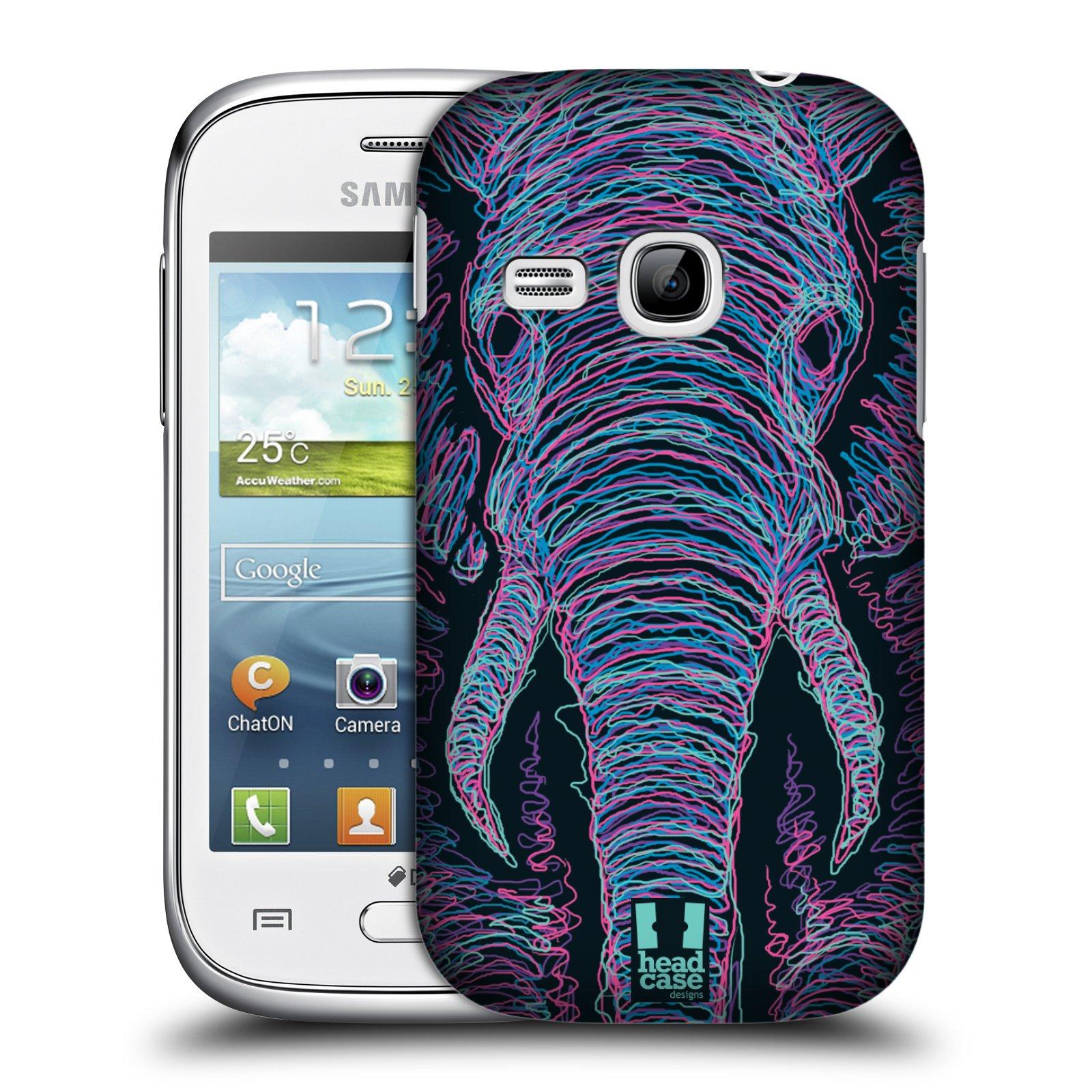 HEAD CASE plastový obal na mobil SAMSUNG Galaxy Young S6310 vzor zvíře čmáranice slon