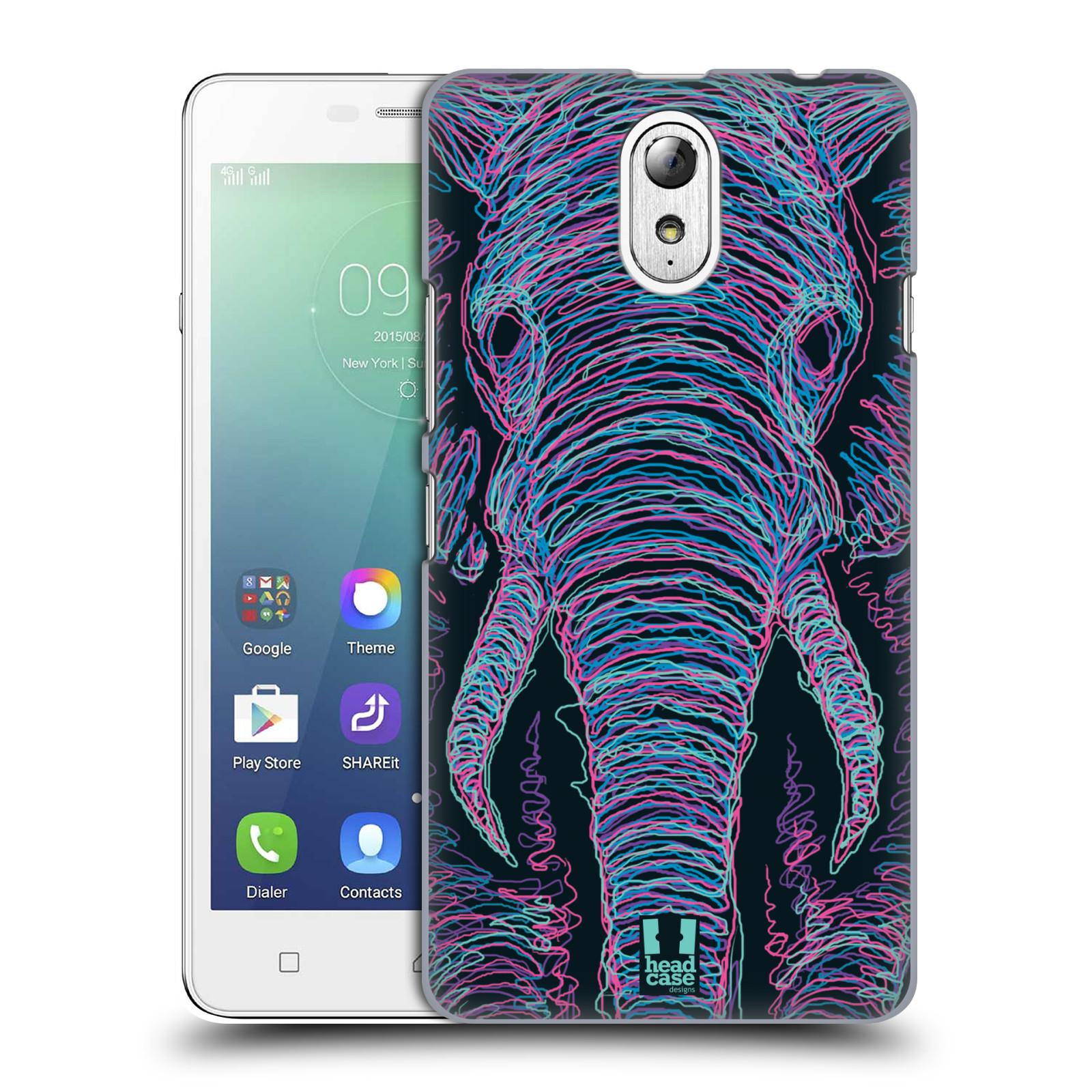 HEAD CASE pevný plastový obal na mobil LENOVO VIBE P1m / LENOVO VIBE p1m DUAL SIM vzor zvíře čmáranice slon
