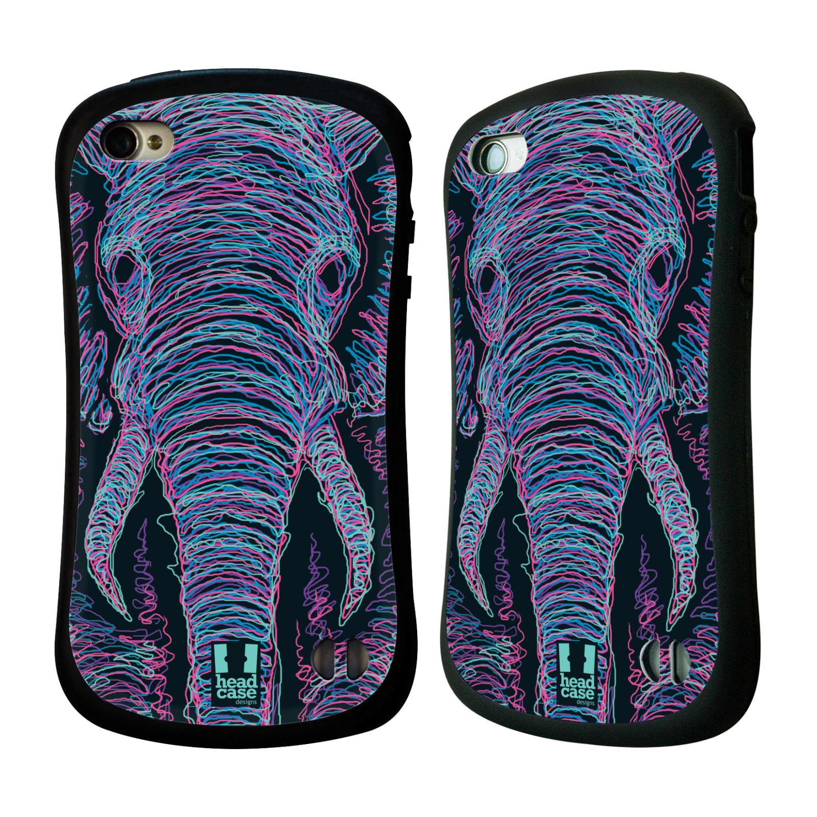 HEAD CASE silikon/plast odolný obal na mobil Apple Iphone 4/4S vzor zvíře čmáranice slon