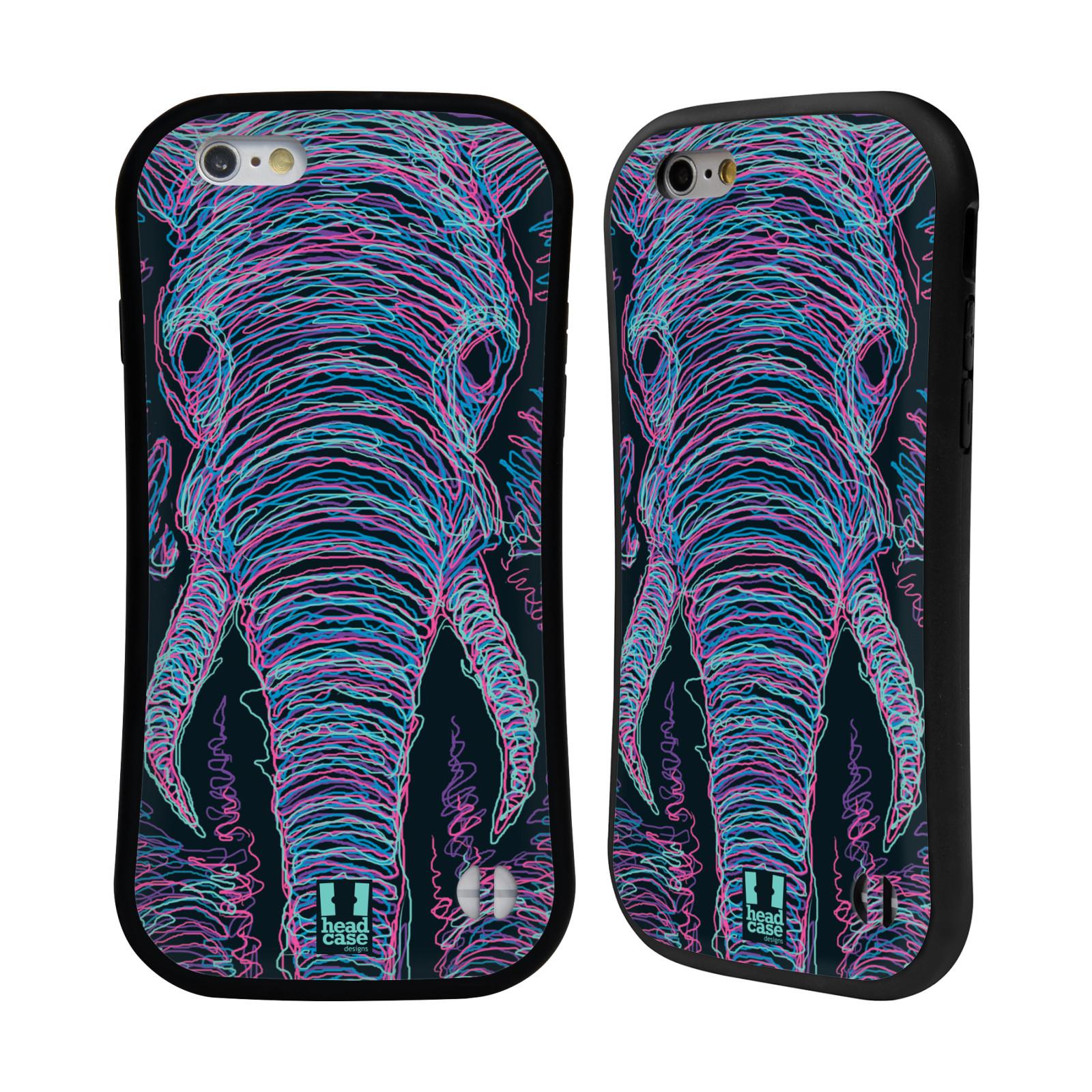 HEAD CASE silikon/plast odolný obal na mobil Apple Iphone 6/6S vzor zvíře čmáranice slon