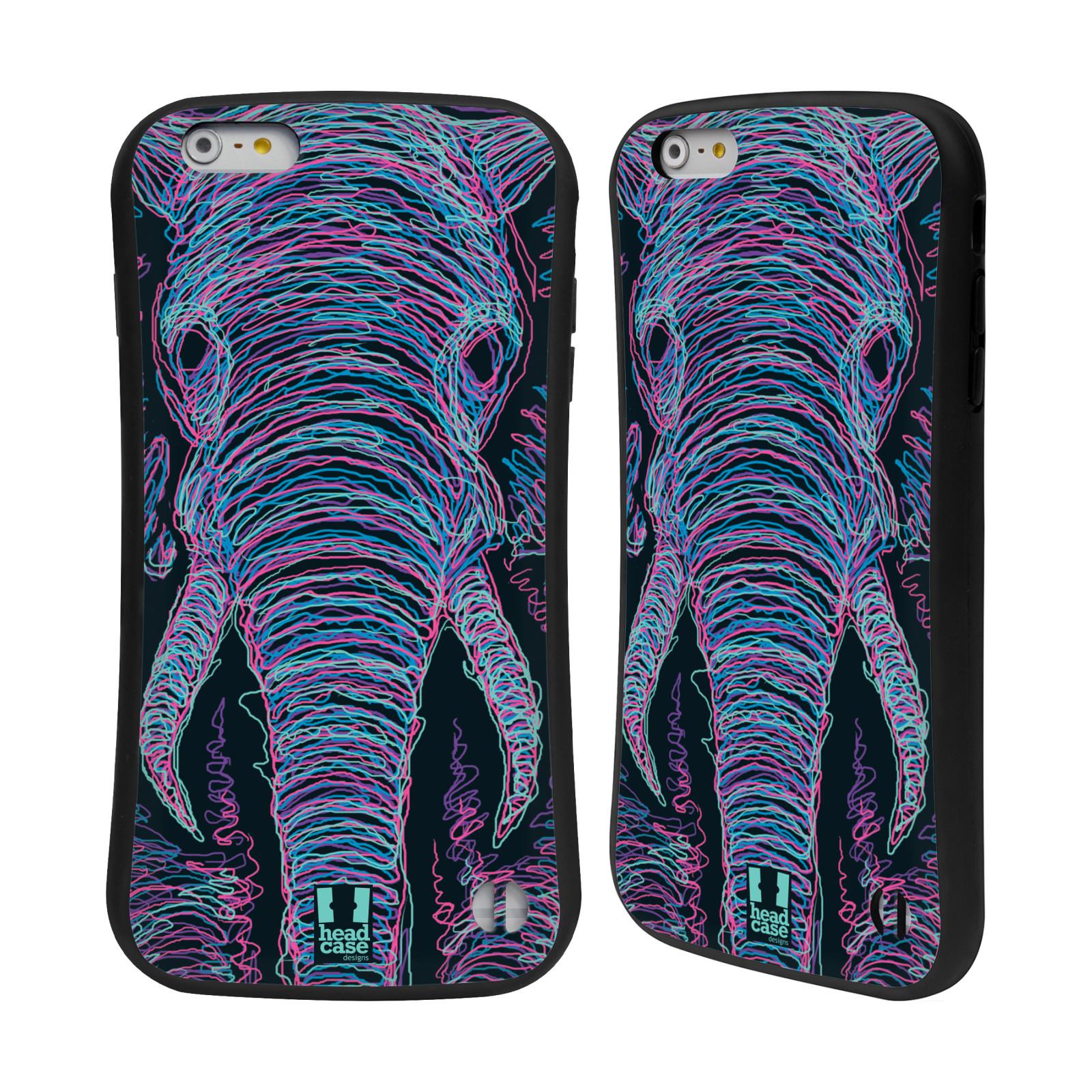 HEAD CASE silikon/plast odolný obal na mobil Apple Iphone 6 PLUS / 6S PLUS vzor zvíře čmáranice slon