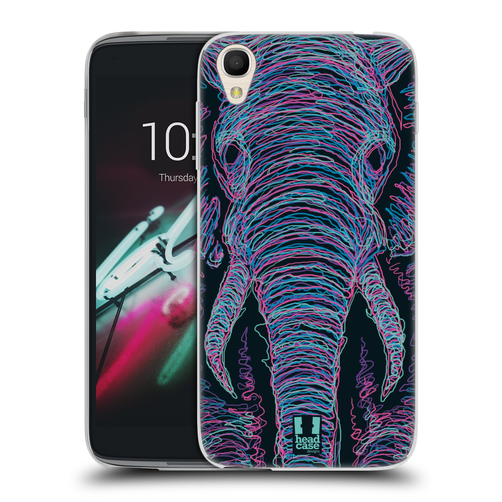 HEAD CASE silikonový obal na mobil Alcatel Idol 3 OT-6039Y (4.7) vzor zvíře čmáranice slon