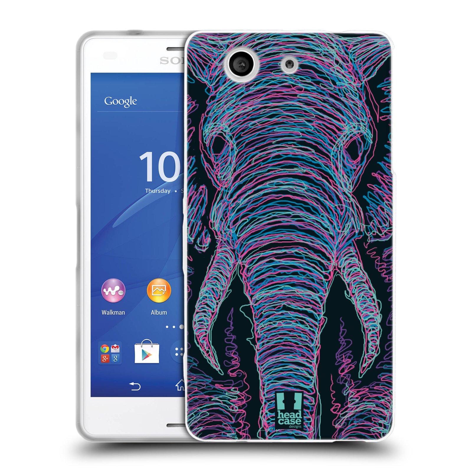 HEAD CASE silikonový obal na mobil Sony Xperia Z3 COMPACT (D5803) vzor zvíře čmáranice slon