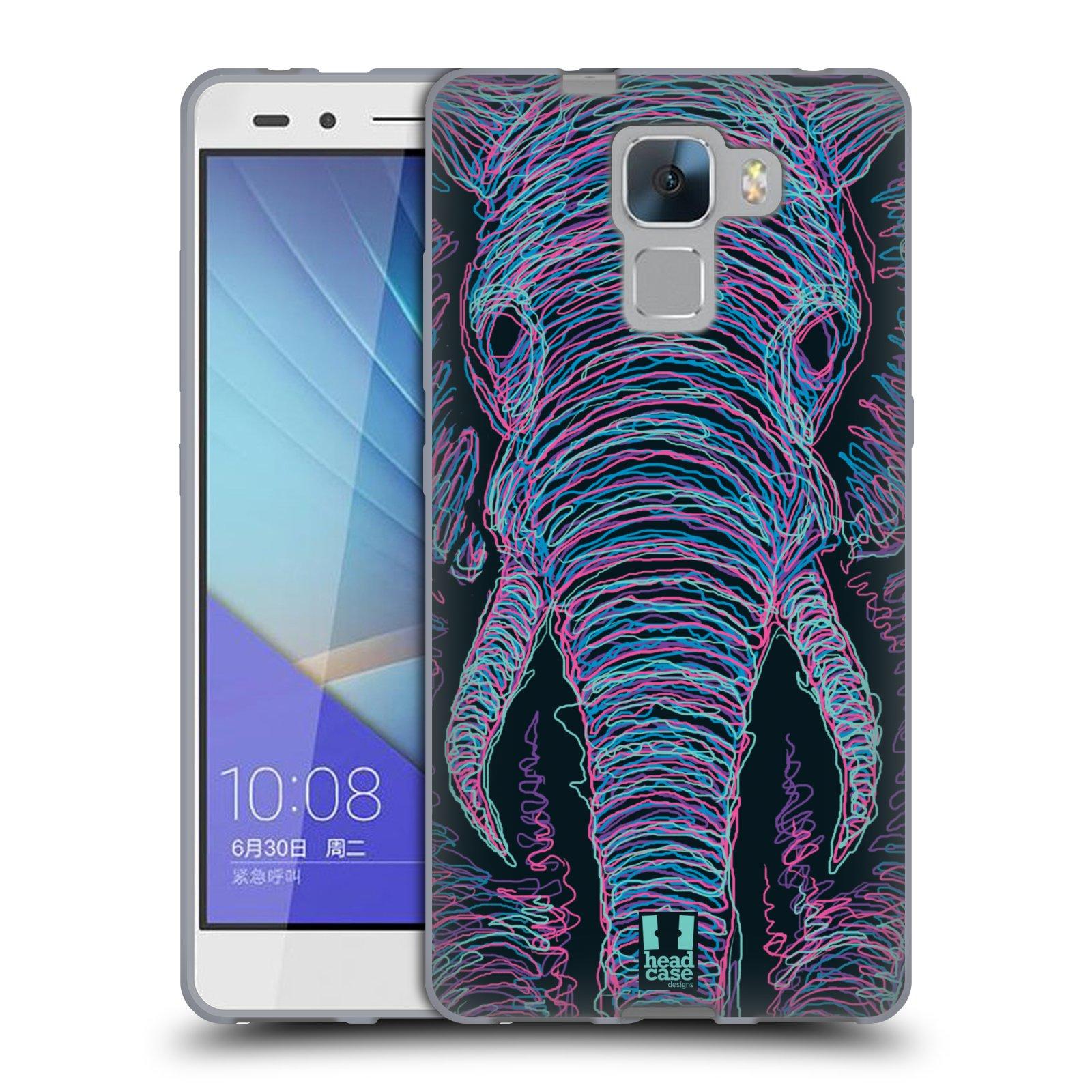 HEAD CASE silikonový obal na mobil HUAWEI HONOR 7 vzor zvíře čmáranice slon